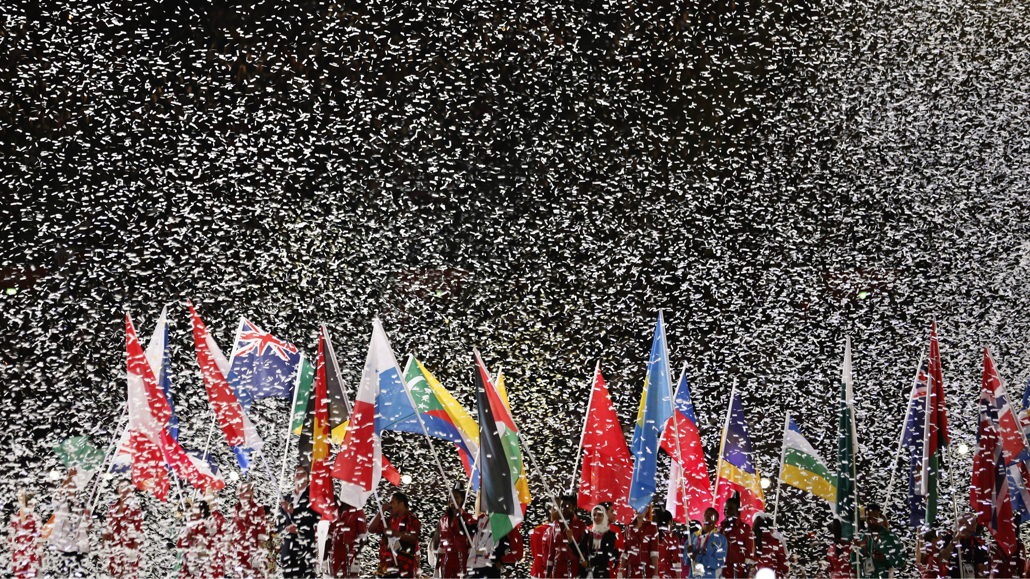 International flags and confetti
