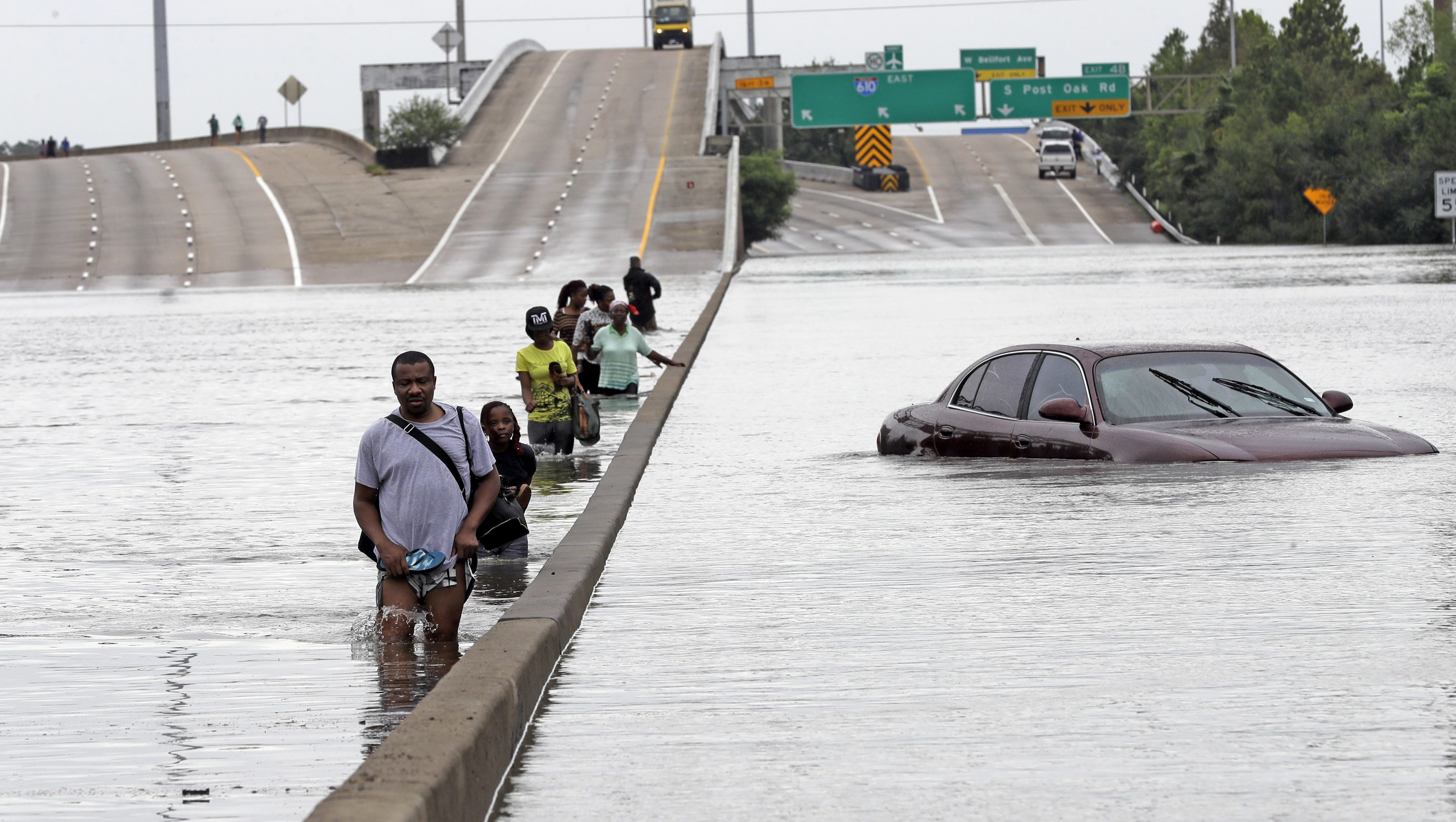 Hurricane Harvey flooded Interstate-610, a federally-funded highway, in Houston.