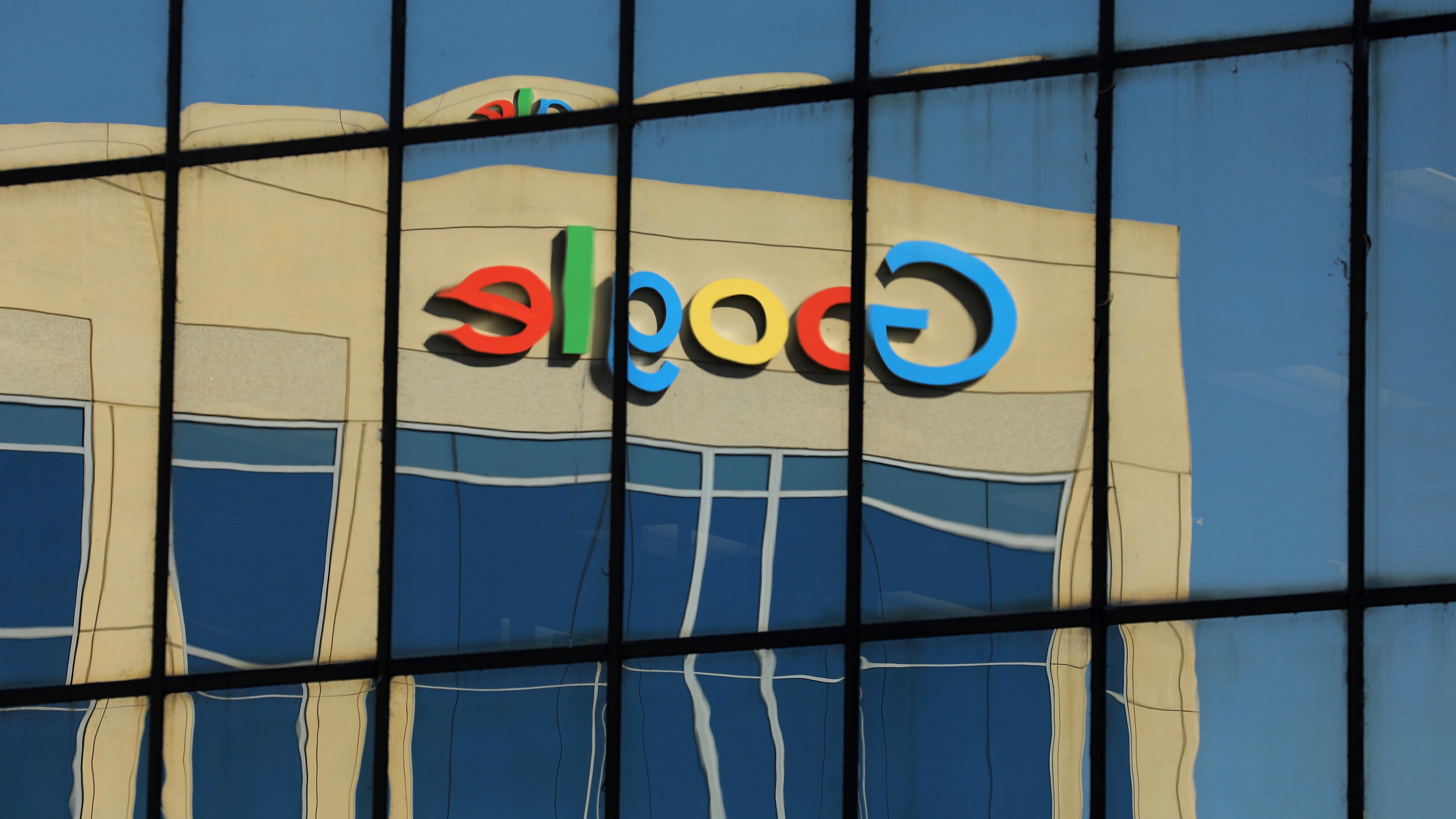 Google logo on building.