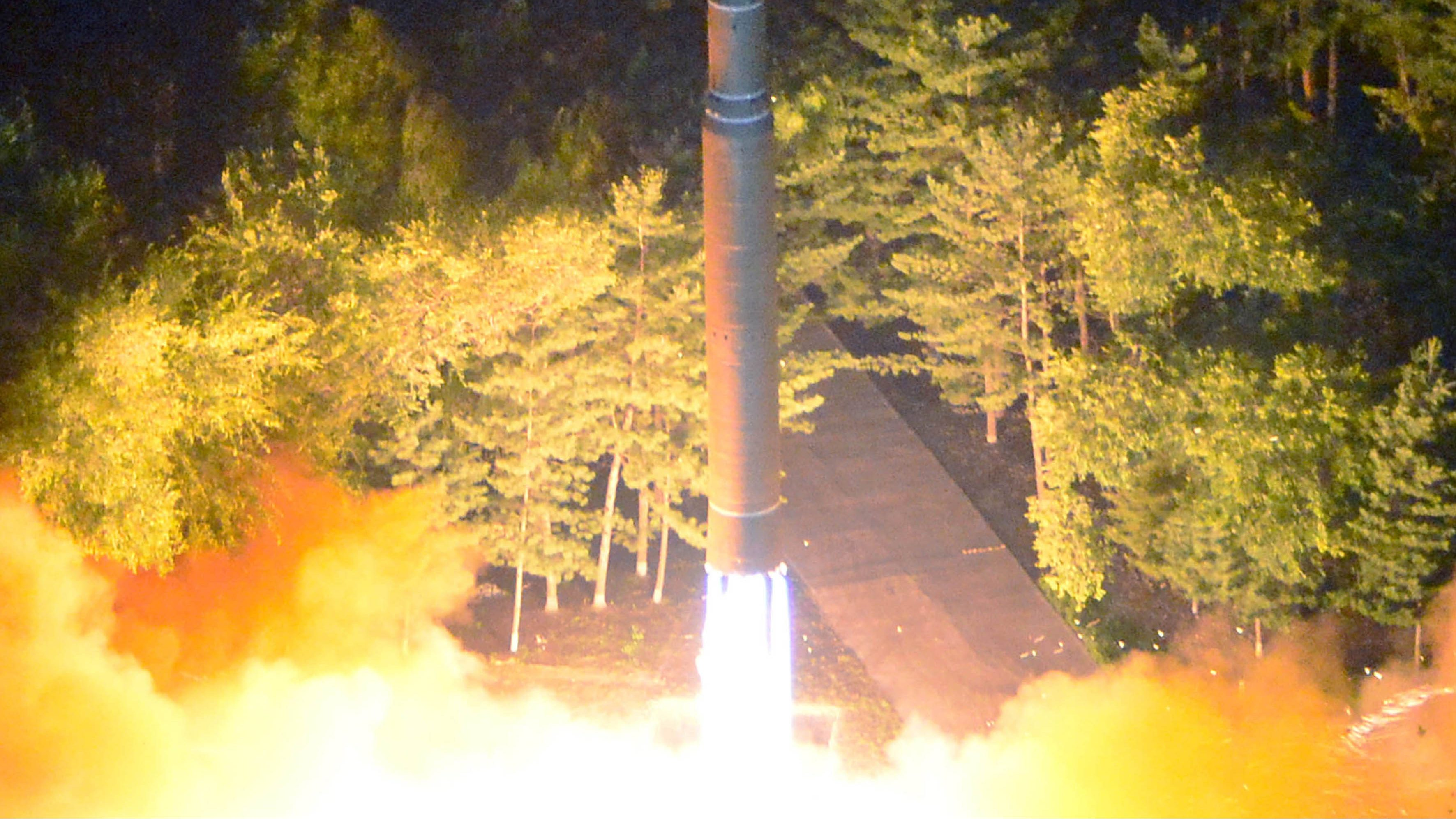 A photo made available by the North Korean Central News Agency (KCNA), the state news agency of North Korea, shows the second test-fire of ICBM Hwasong-14 at an undisclosed location in North Korea, 28 July 2017 (issued 29 July 2017). According to South Korea's Joint Chiefs of Staff, North Korea has test-fired a ballistic missile into the East Sea on 28 July 2017, from the North's Jagang Province. North Korean leader Kim Jong-un hailed the latest intercontinental ballistic missile test as a success claiming he could strike the entire continental US, state media reported.