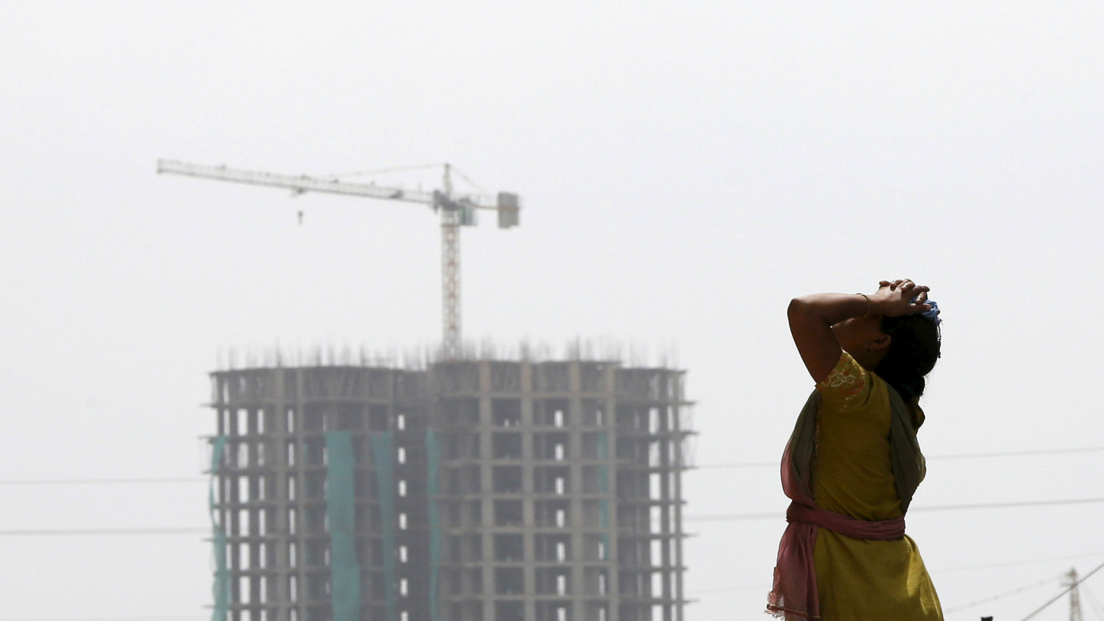 A construction site of a residential complex in Noida, near New Delhi.