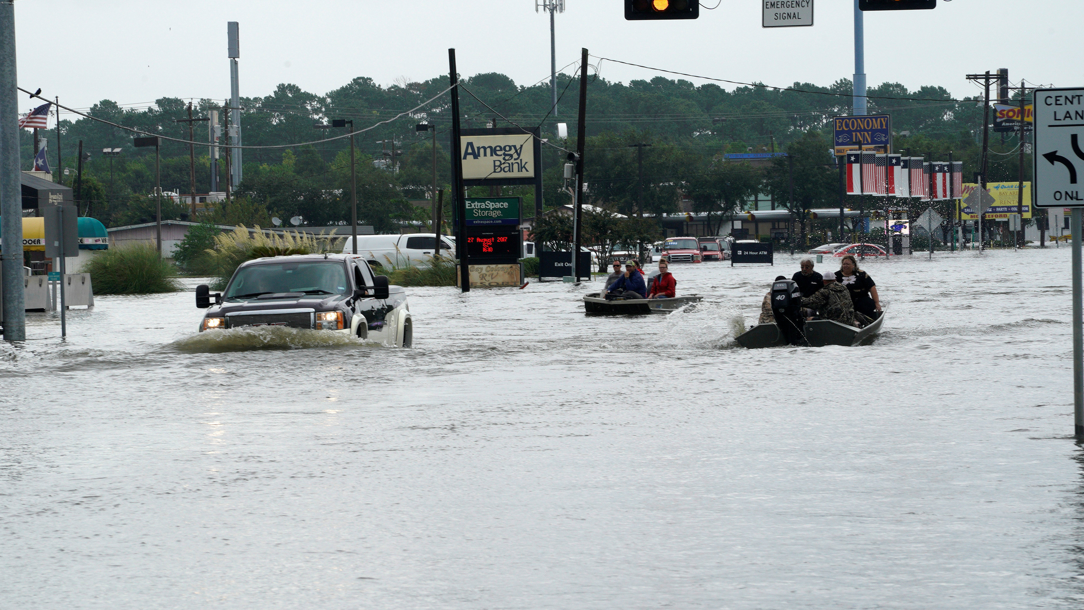 Flood waters from Hurricane Harvey cover the main street in Dickinson, Texas August 27, 2017.