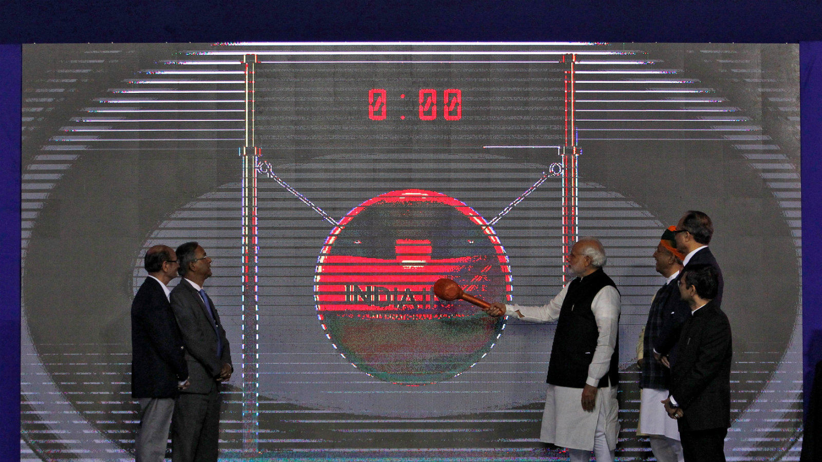 India's PM Modi inaugurates the country's first international exchange - India INX in Gujarat International