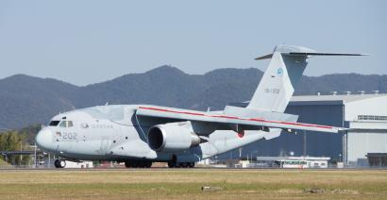 The C-2 aircraft at Gifu Air Base in October 2015.