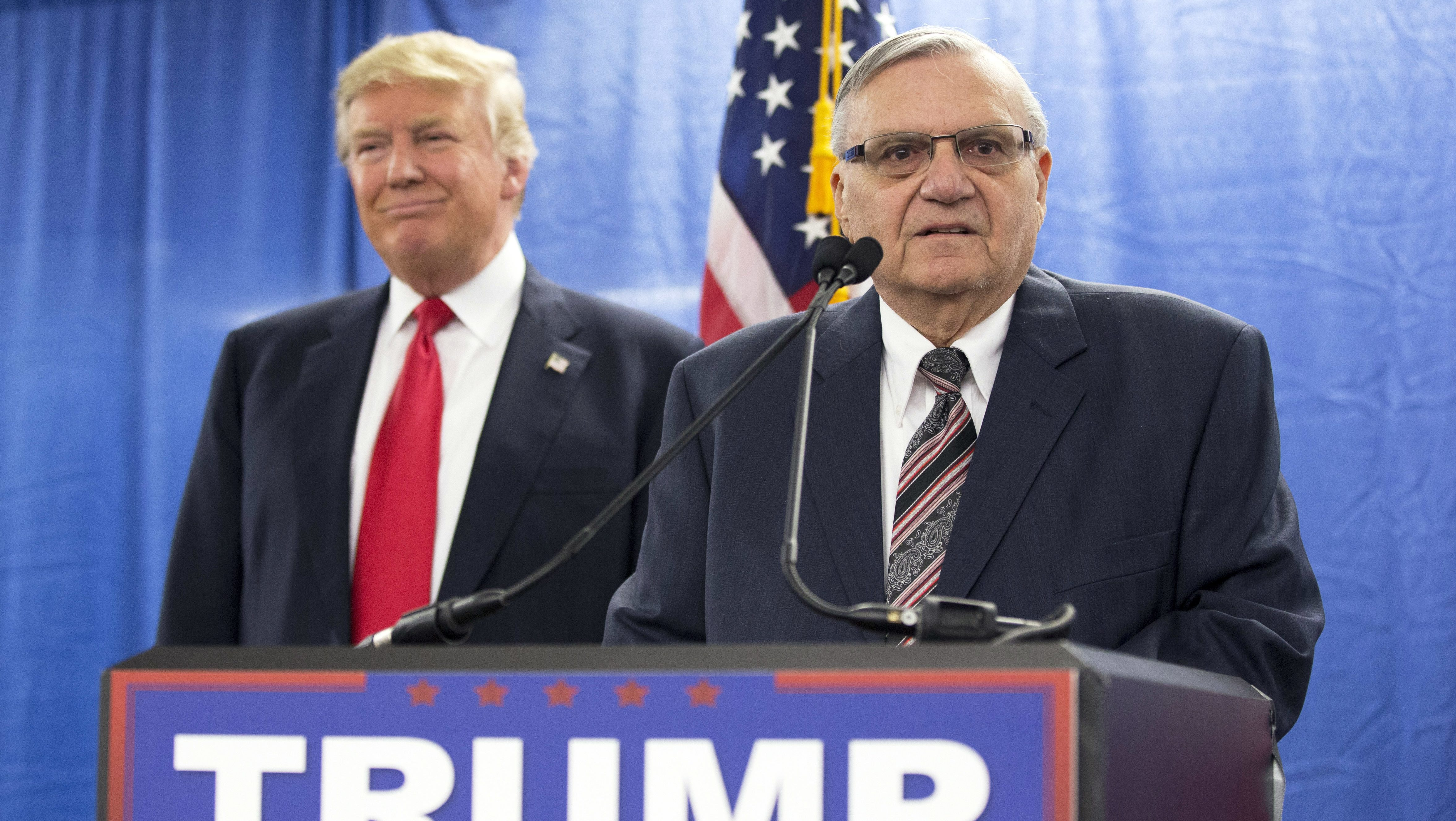 Donald Trump, Joe Arpaio during presidential campaign event