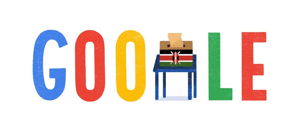 Google's doodle marking the 2017 Kenya elections.