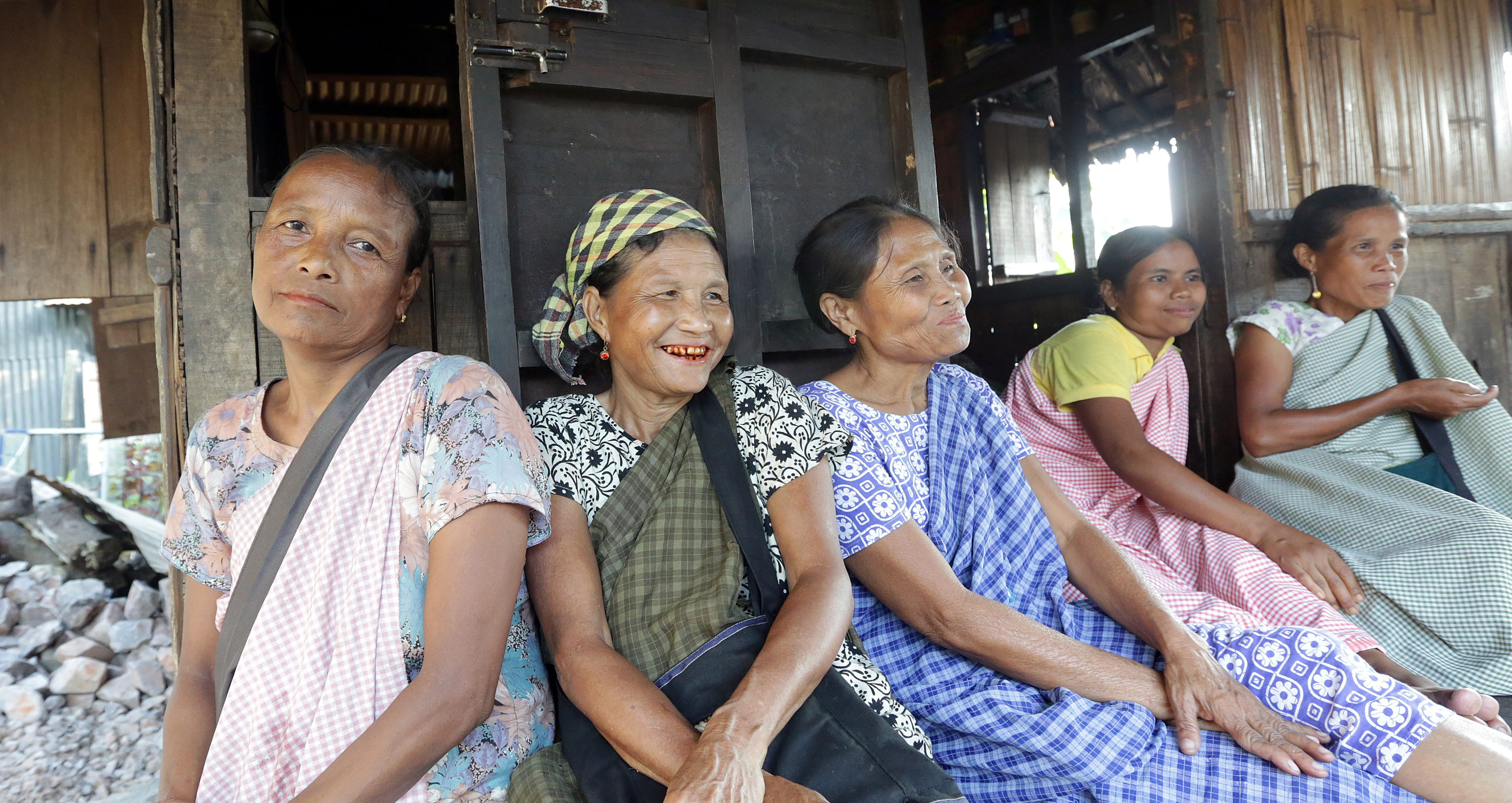 A picture made available on 16 September 2016 shows Indian khasi tribal women sitting outside their house near the Cherrapunji,  Meghalaya, India, 26 August 2016.
