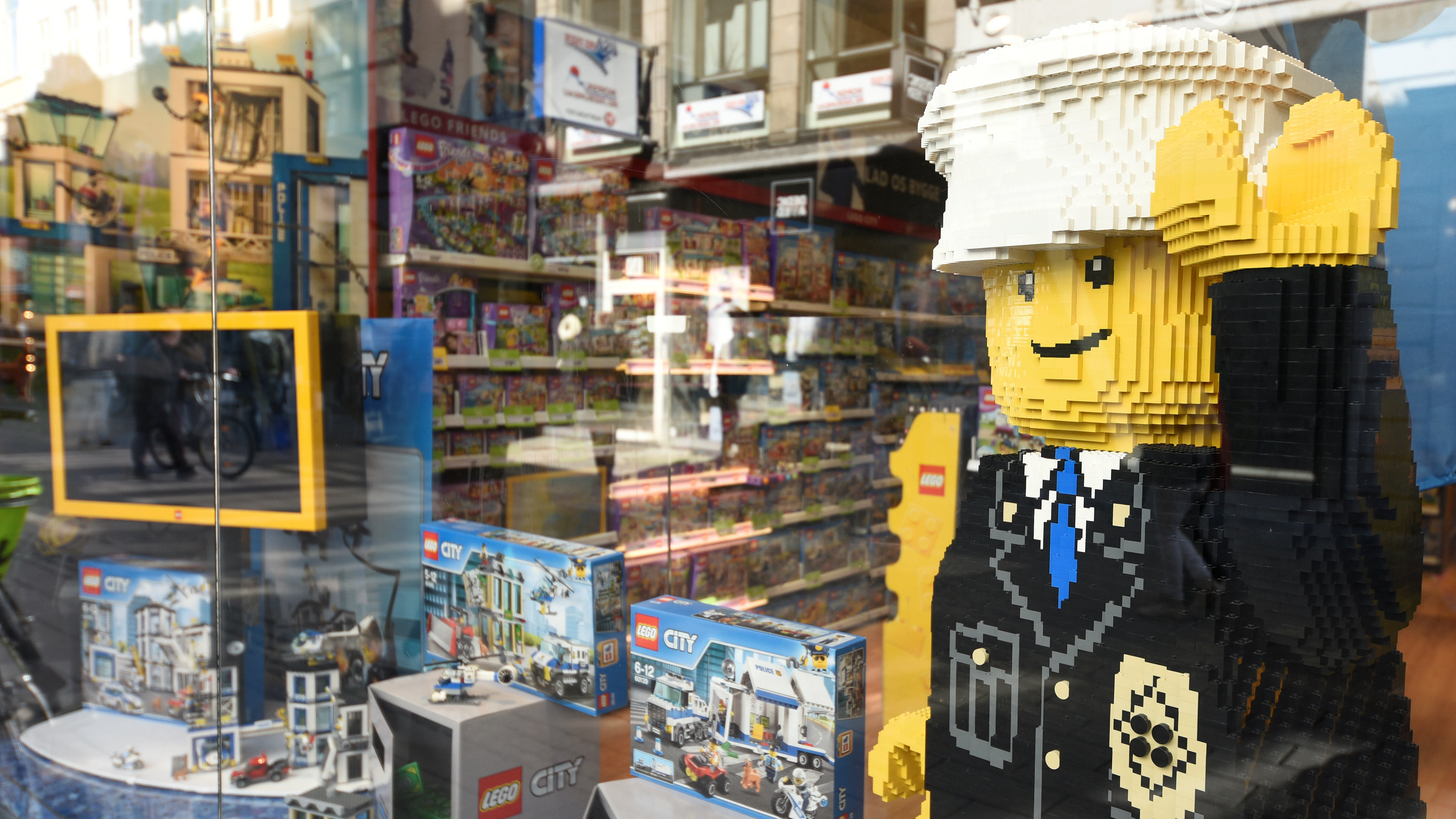 The window of a Lego shop is pictured in Copenhagen, Denmark April 19, 2017