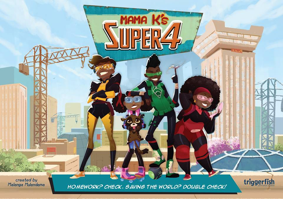 The title image of Mama K's Super 4, an African animated series by Triggerfish, currently in development.
