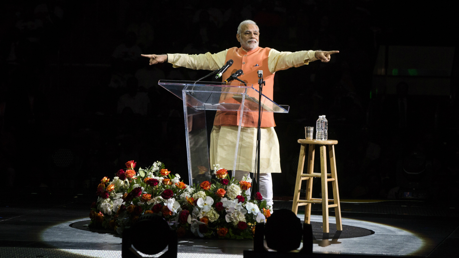 India's Prime Minister Narendra Modi gestures while speaking at Madison Square Garden in New York, during a visit to the United States, September 28, 2014.