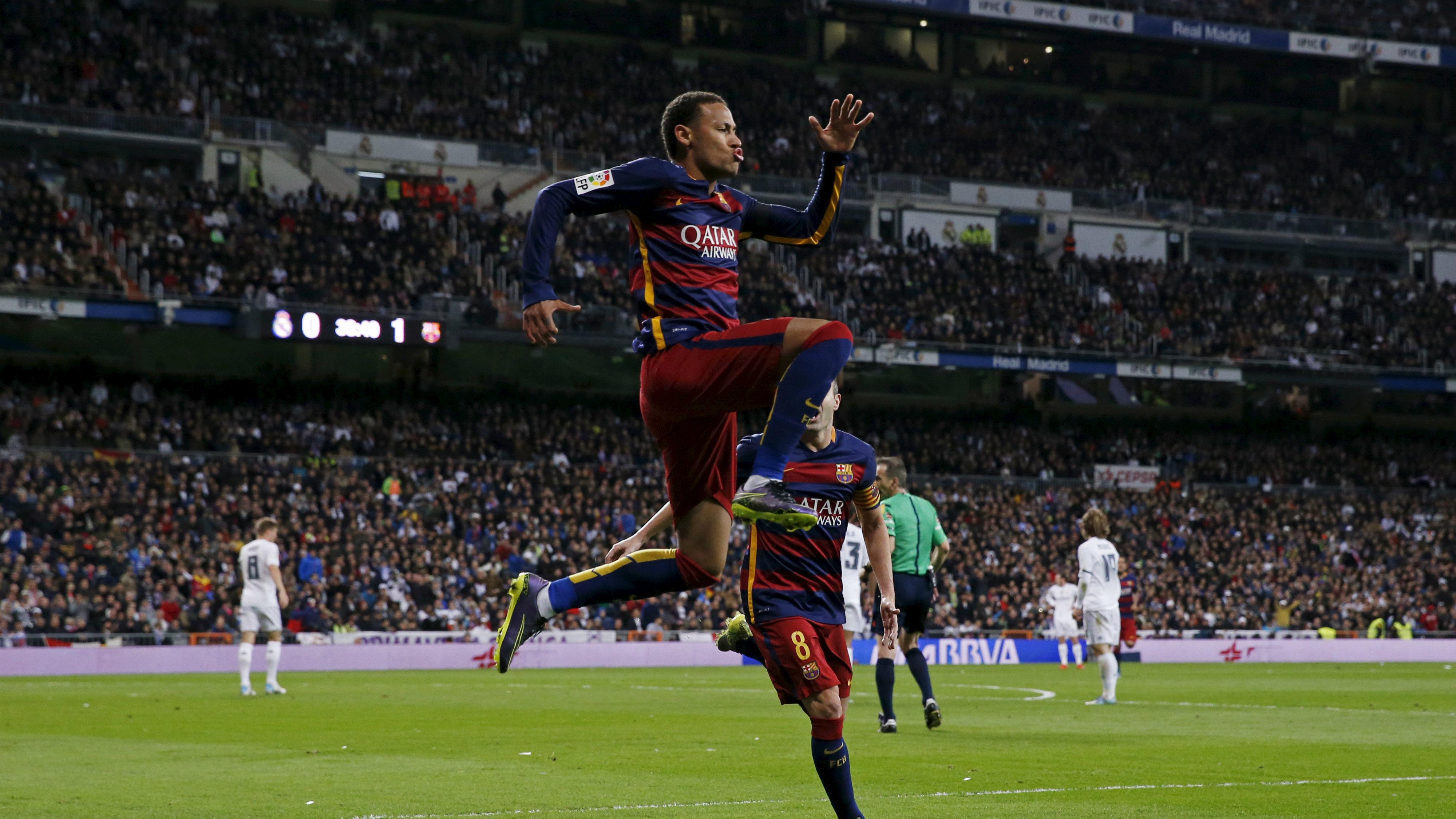 Neymar celebrates after scoring the second goal for Barcelona