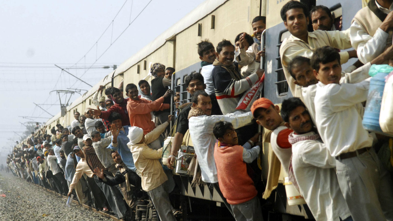Passengers on an over crowded train in Patna.