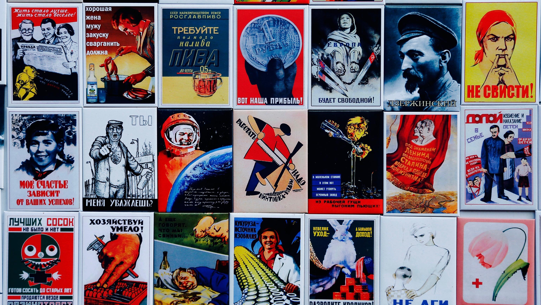 Propaganda poster fridge magnets.