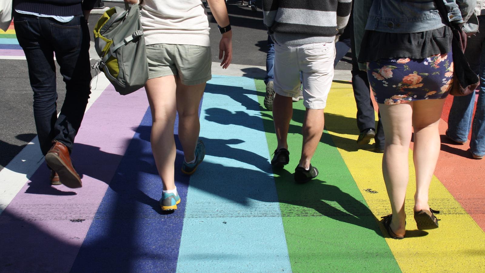rainbow crosswalk in vancouver