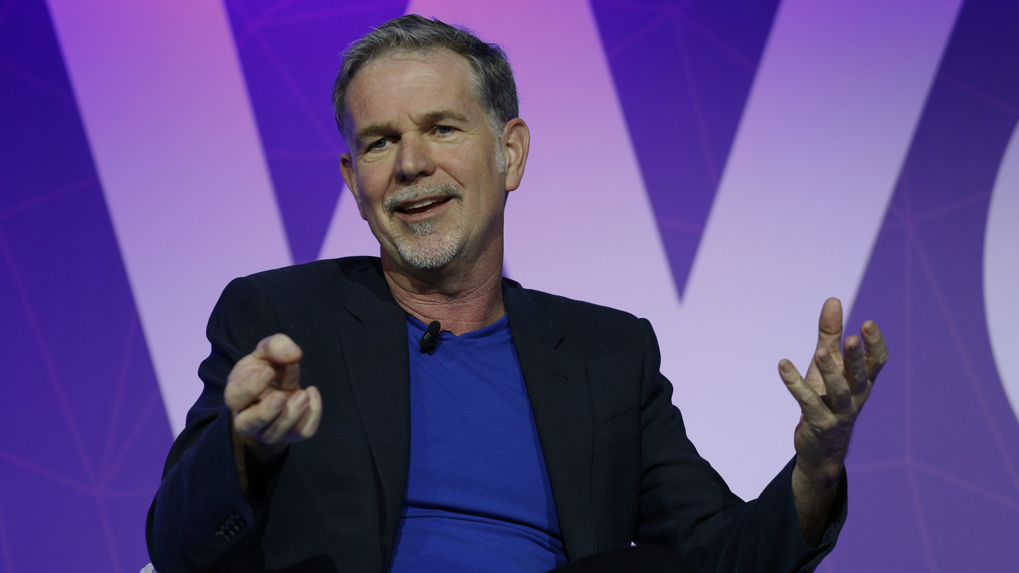 Netflix's Chief Executive Officer Reed Hastings gestures as he delivers his keynote speech during Mobile World Congress in Barcelona, Spain, February 27, 2017. REUTERS/Paul Hanna - RTS10NUT