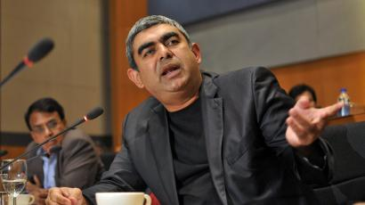 Infosys CEO Vishal Sikka speaks during the announcement of the company's quarterly financial results at its headquarters in Bengaluru