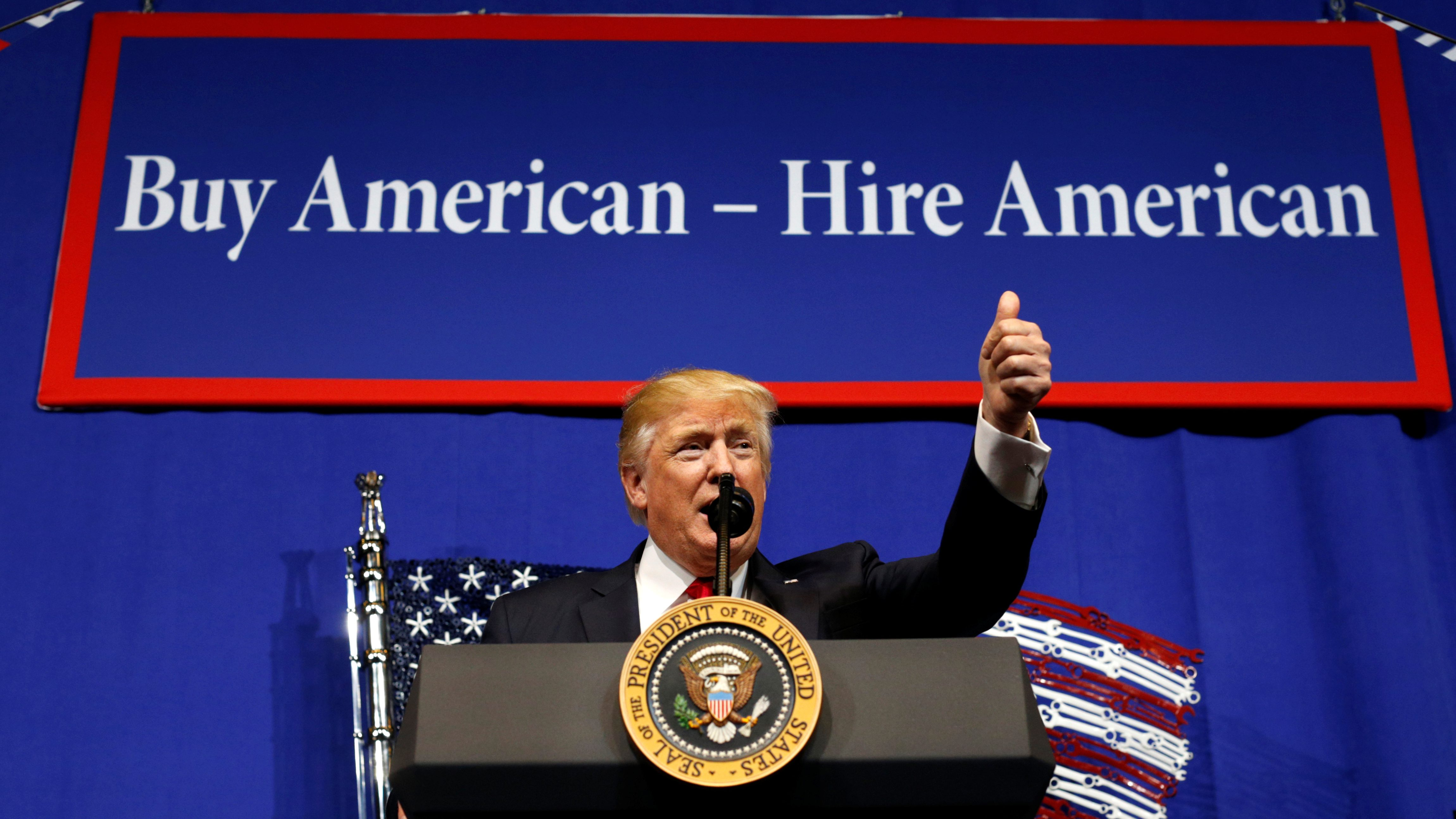 U.S. President Donald Trump speaks before signing an executive order directing federal agencies to recommend changes to a temporary visa program used to bring foreign workers to the United States to fill high-skilled jobs during a visit to the world headquarters of Snap-On Inc, a tool manufacturer, in Kenosha, Wisconsin, U.S., April 18, 2017.
