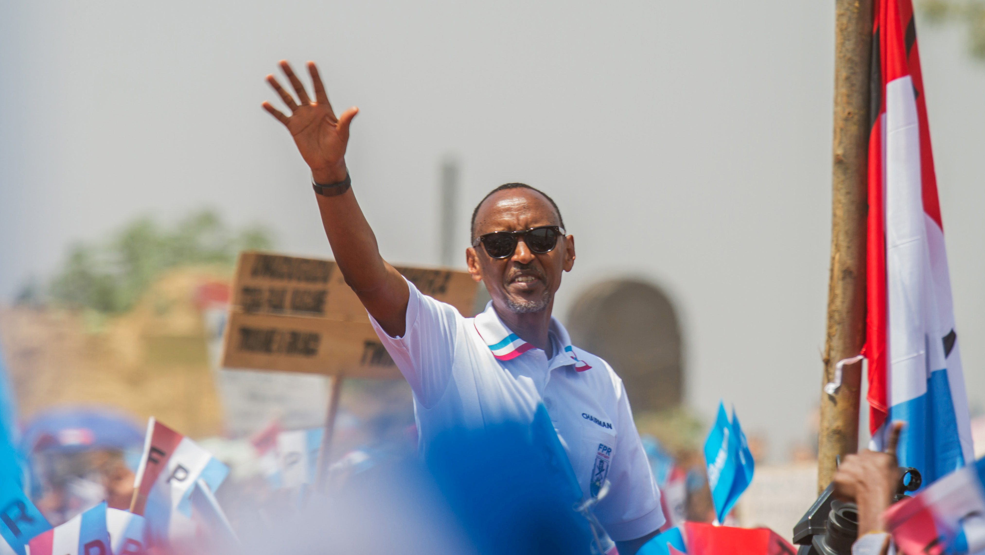 Rwandan President Paul Kagame of the ruling Rwandan Patriotic Front (RPF) waves to his supporters during his final campaign rally in Kigali, Rwanda August 2, 2017.