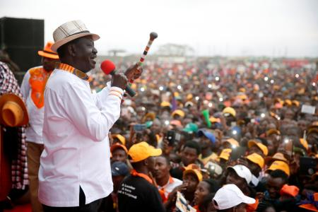Kenyan opposition leader Raila Odinga, the presidential candidate of the National Super Alliance (NASA) party, delivers a speach during an election rally in Suswa, Kenya, August 2, 2017.