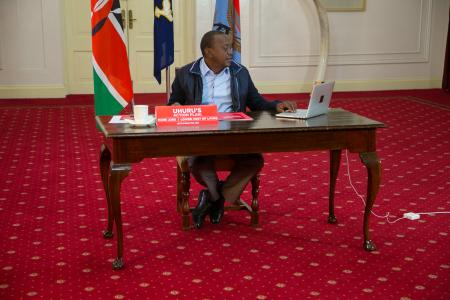 Kenya's President Uhuru Kenyatta answers questions from the public through Facebook Live at the State House in Nairobi, Kenya July 30, 2017.