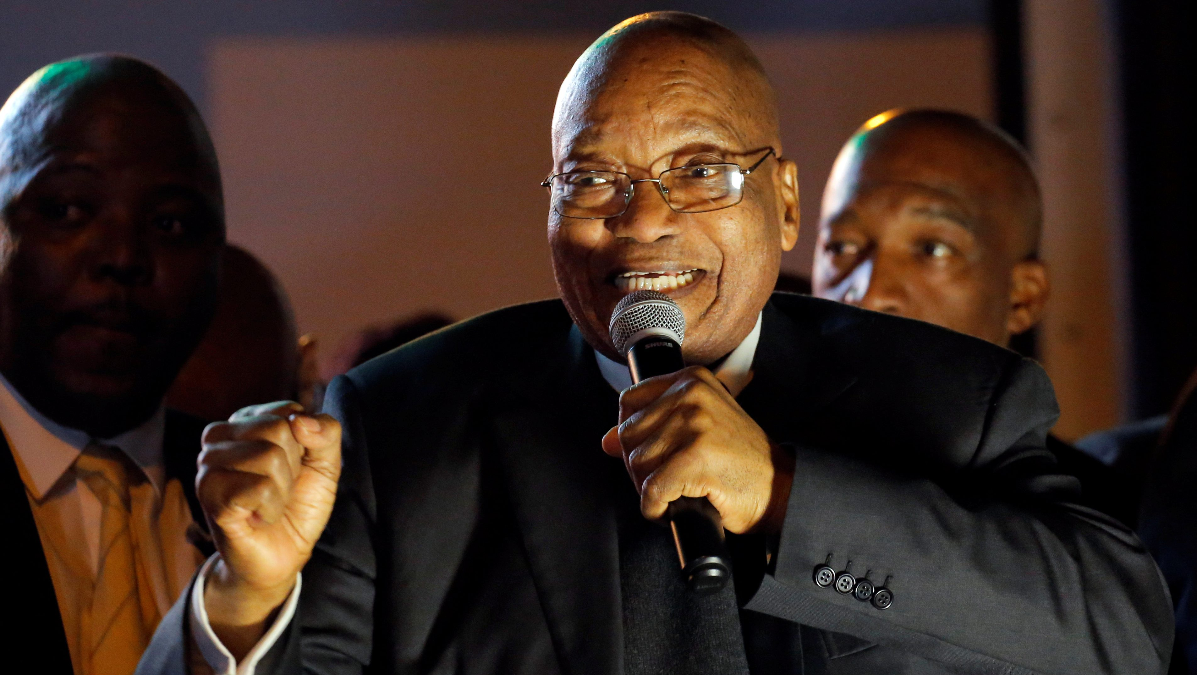 South African President Jacob Zuma addresses his supporters after he survived a no-confidence motion in Cape Town