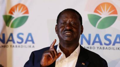 Kenyan opposition leader Raila Odinga, the presidential candidate of the National Super Alliance (NASA) coalition, address a news conference on the concluded presidential election in Nairobi, Kenya, August 9, 2017.