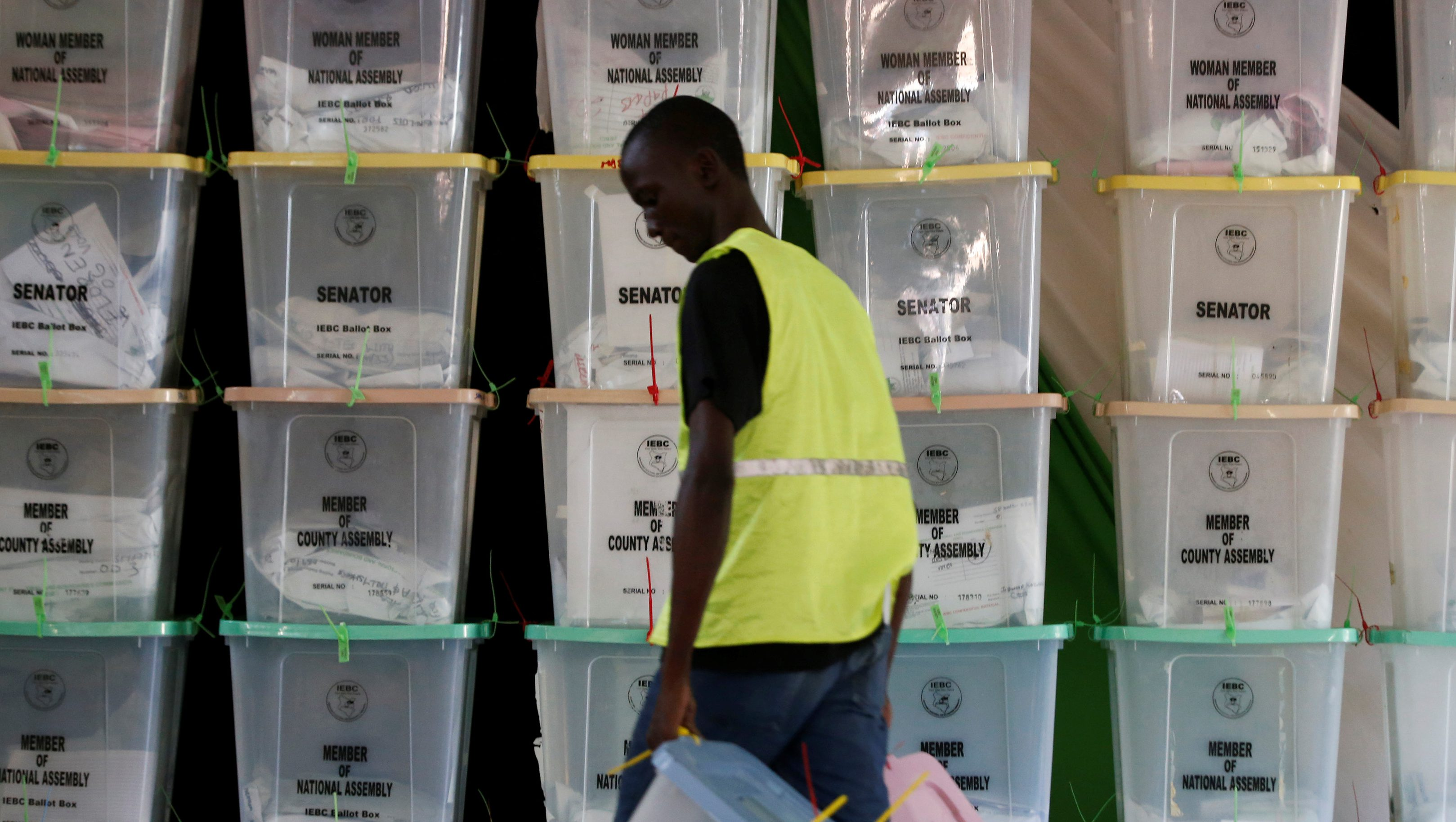 Ballot boxes are stacked at a tallying centre in Mombasa, Kenya, August 9, 2017.