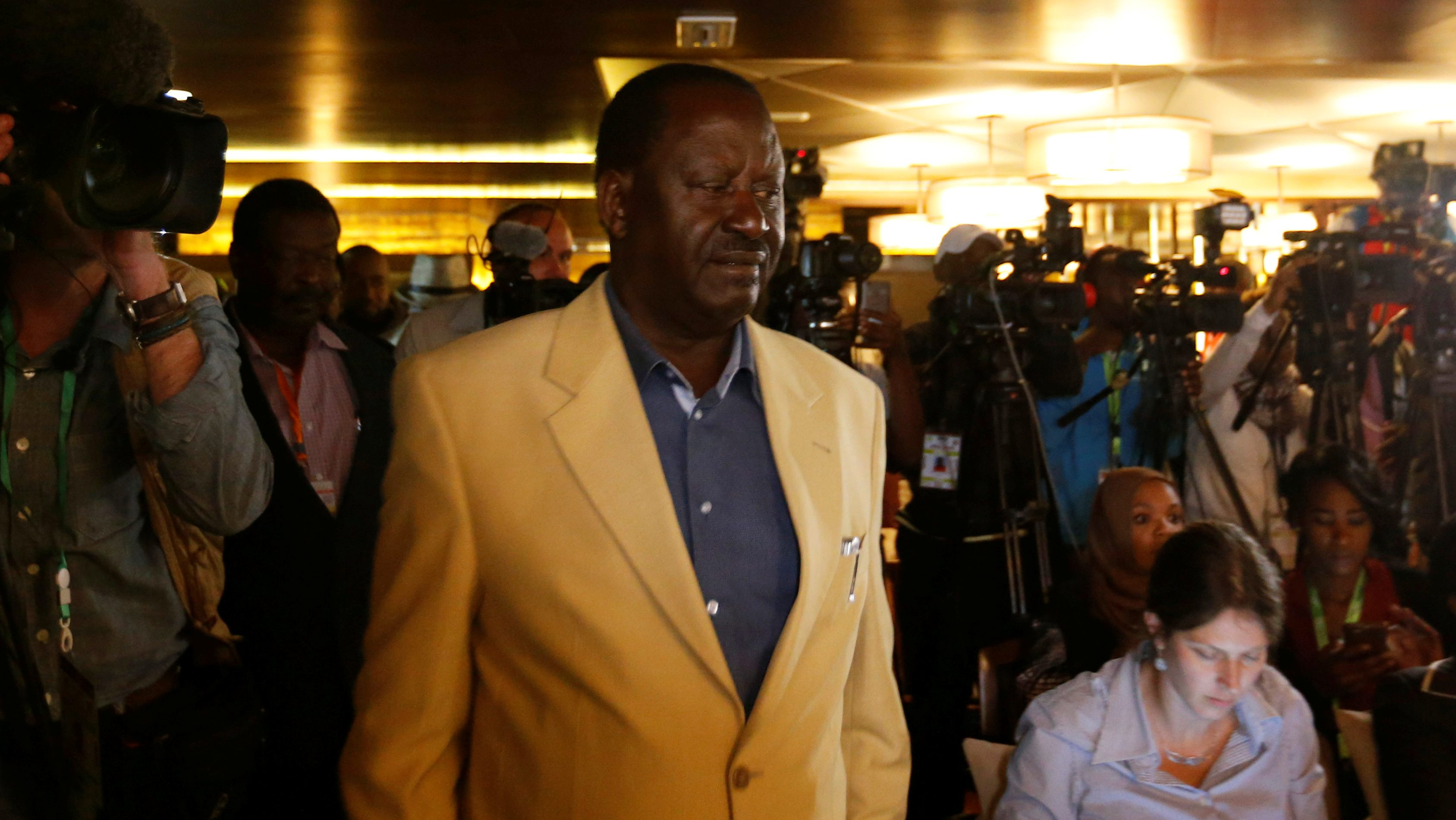 Kenyan opposition leader Raila Odinga, the presidential candidate of the National Super Alliance (NASA) coalition, arrives for a news conference in Nairobi, Kenya August 10, 2017.