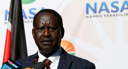 Opposition leader Raila Odinga speaks at a news conference at the offices of the National Super Alliance (NASA) coalition in Nairobi, Kenya August 16, 2017.