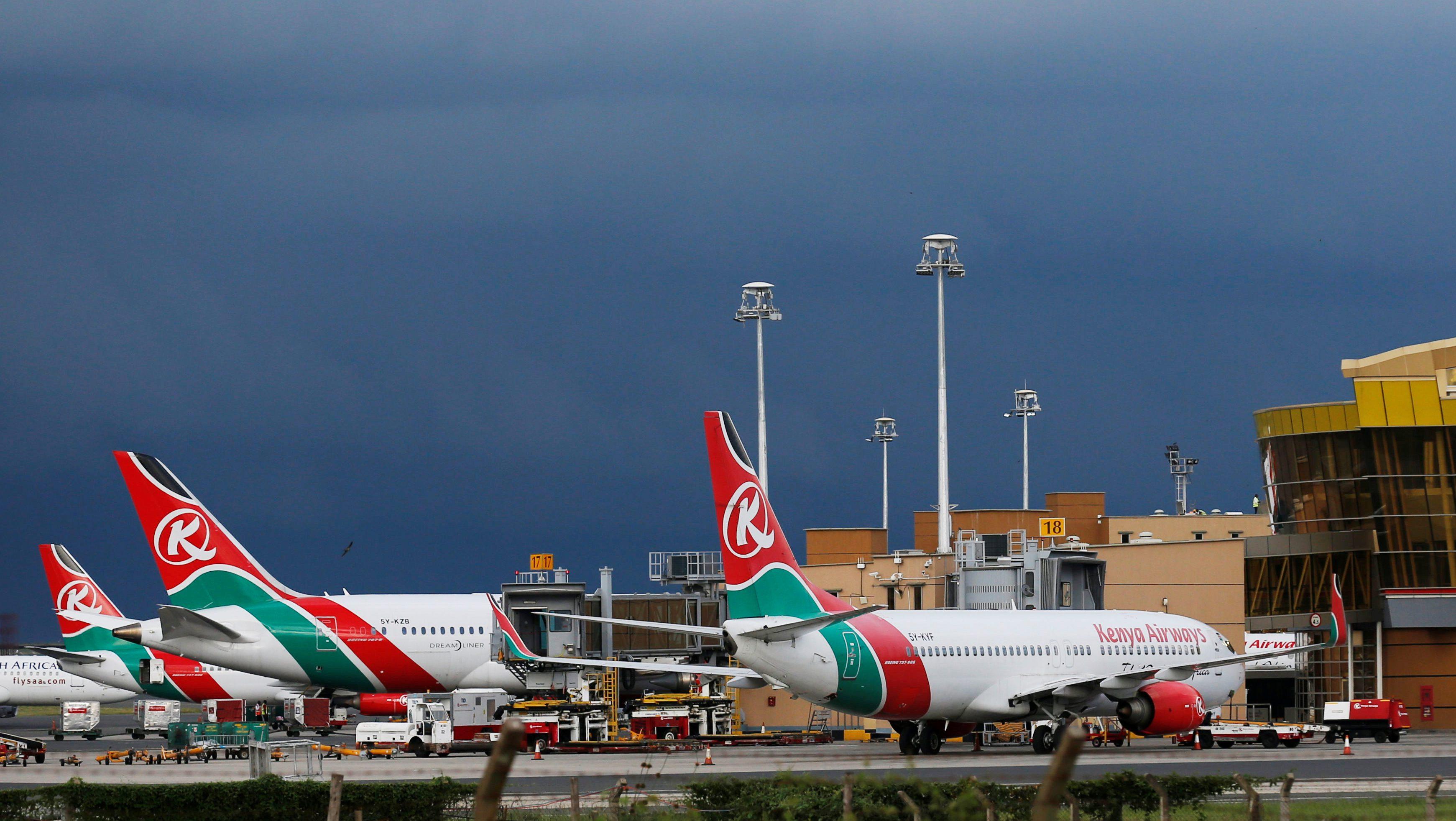 Kenya Airways planes are seen parked at the Jomo Kenyatta International airport near Kenya's capital Nairobi, April 28, 2016. Picture taken April 28, 2016.