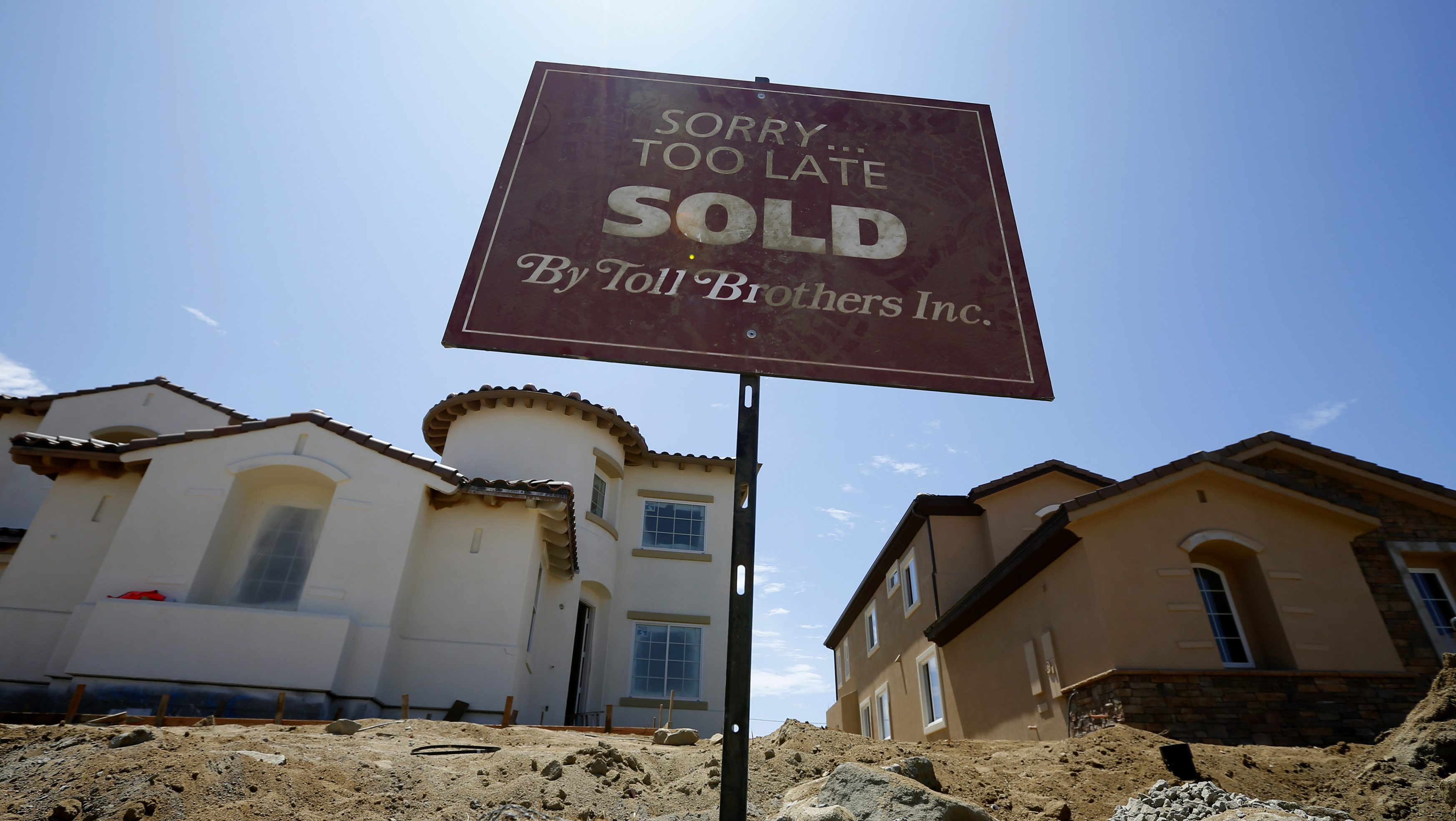 Toll Brothers luxury homes are shown sold before construction is completed in Oceanside
