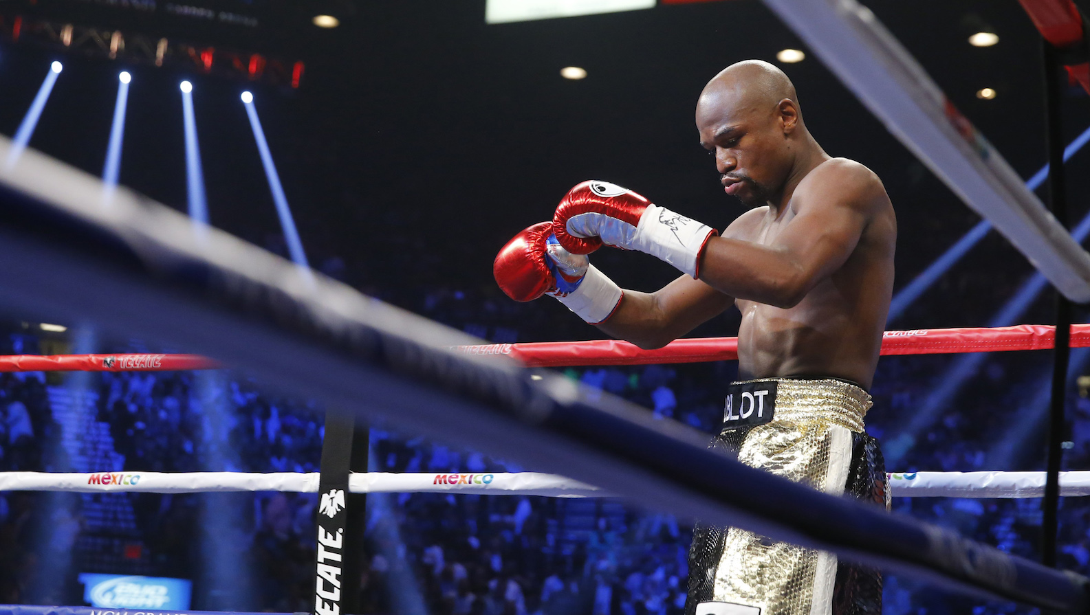 Floyd Mayweather Jr. of the U.S. arrives in the ring to face Manny Pacquiao of the Philippines in their welterweight WBO, WBC and WBA (Super) title fight in Las Vegas, Nevada, May 2, 2015.    REUTERS/Steve Marcus - RTX1BAMU