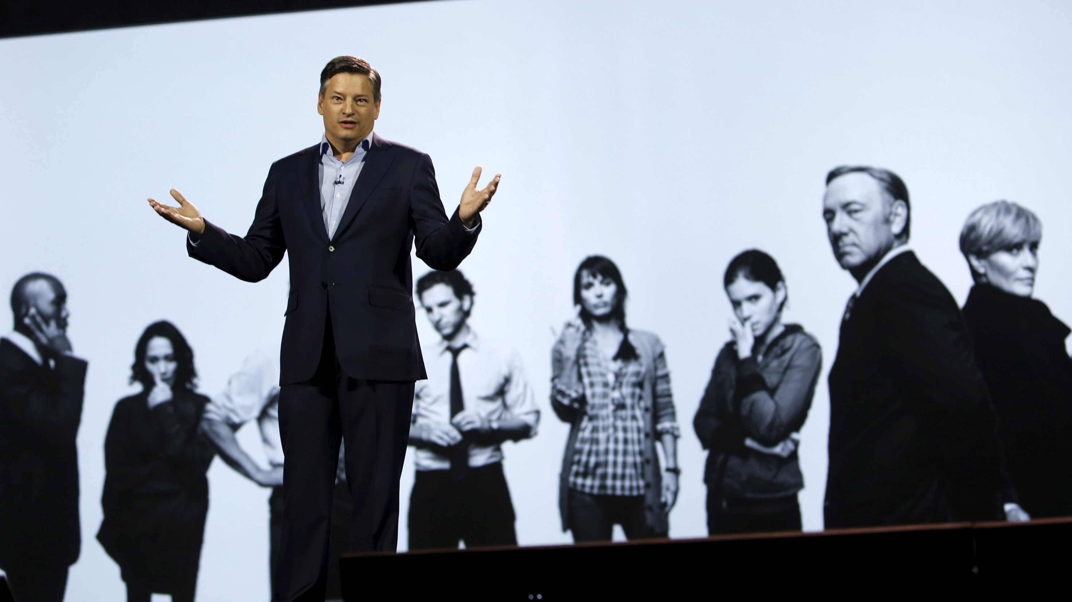 Ted Sarandos, chief content officer for Netflix, speaks during a keynote address at the 2016 CES trade show in Las Vegas, Nevada January 6, 2016.  REUTERS/Steve Marcus - RTX21BOK