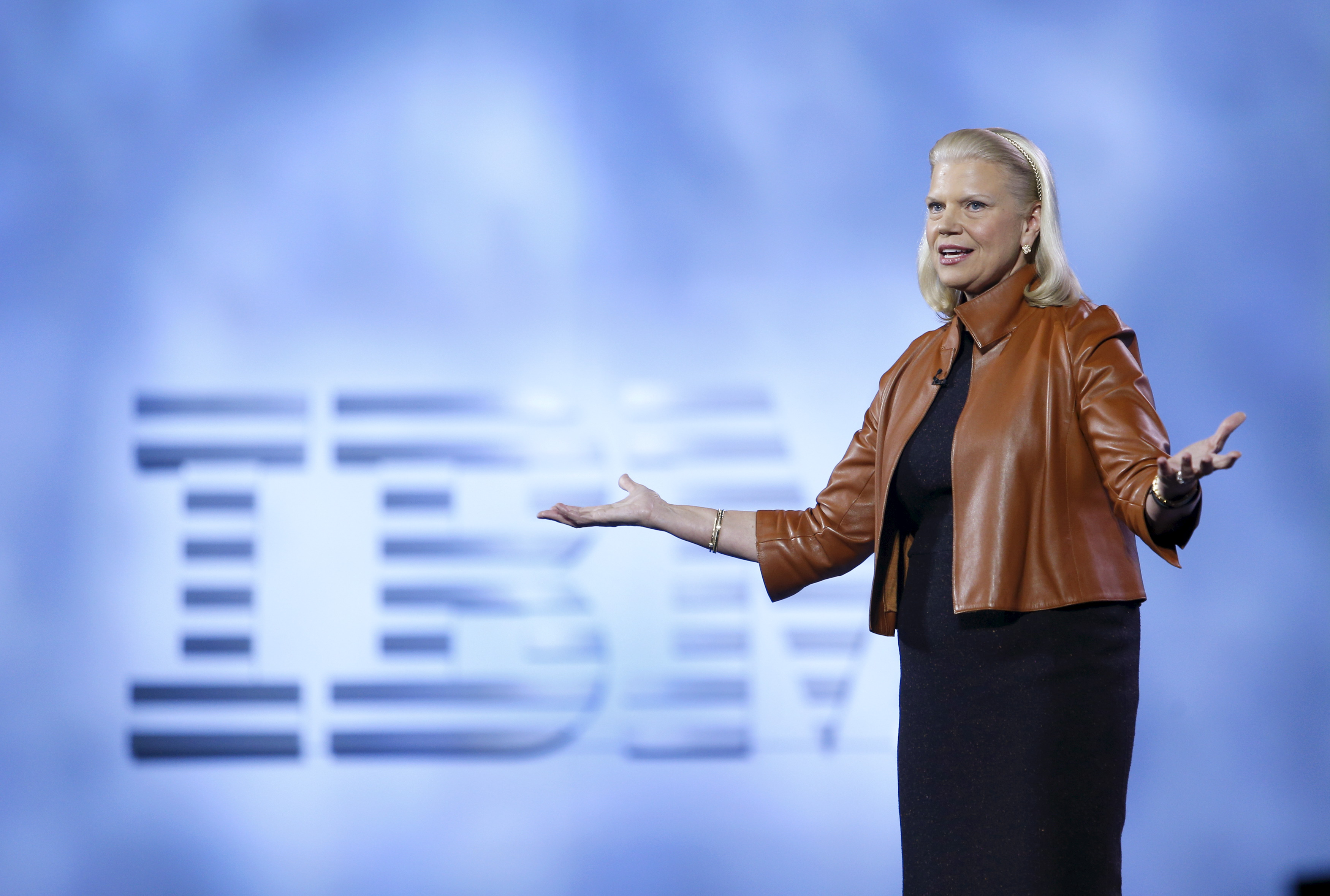 Ginni Rometty, chairman, president and CEO of IBM, speaks during a keynote address.