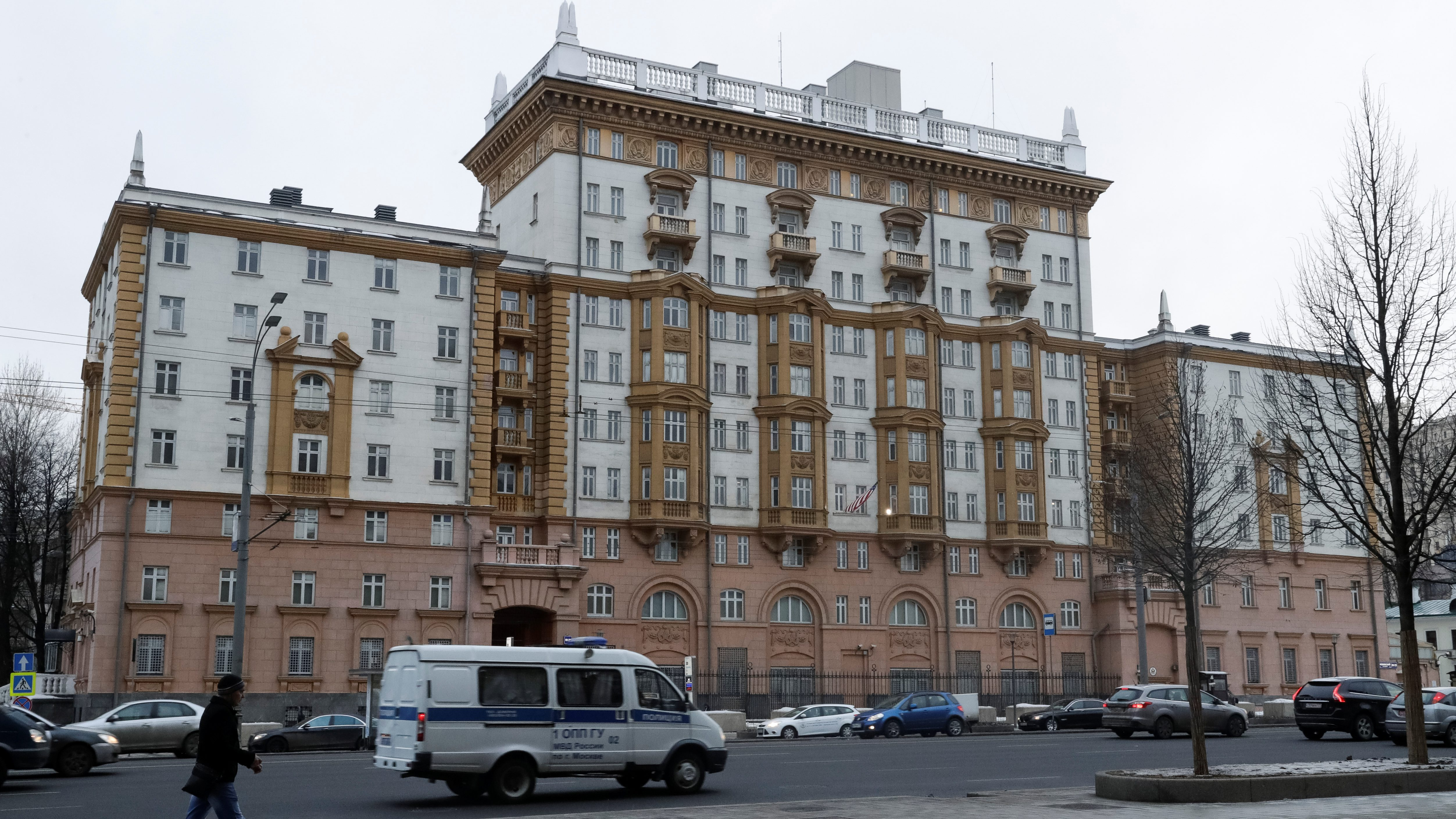 A general view of the U.S. embassy in Moscow, Russia