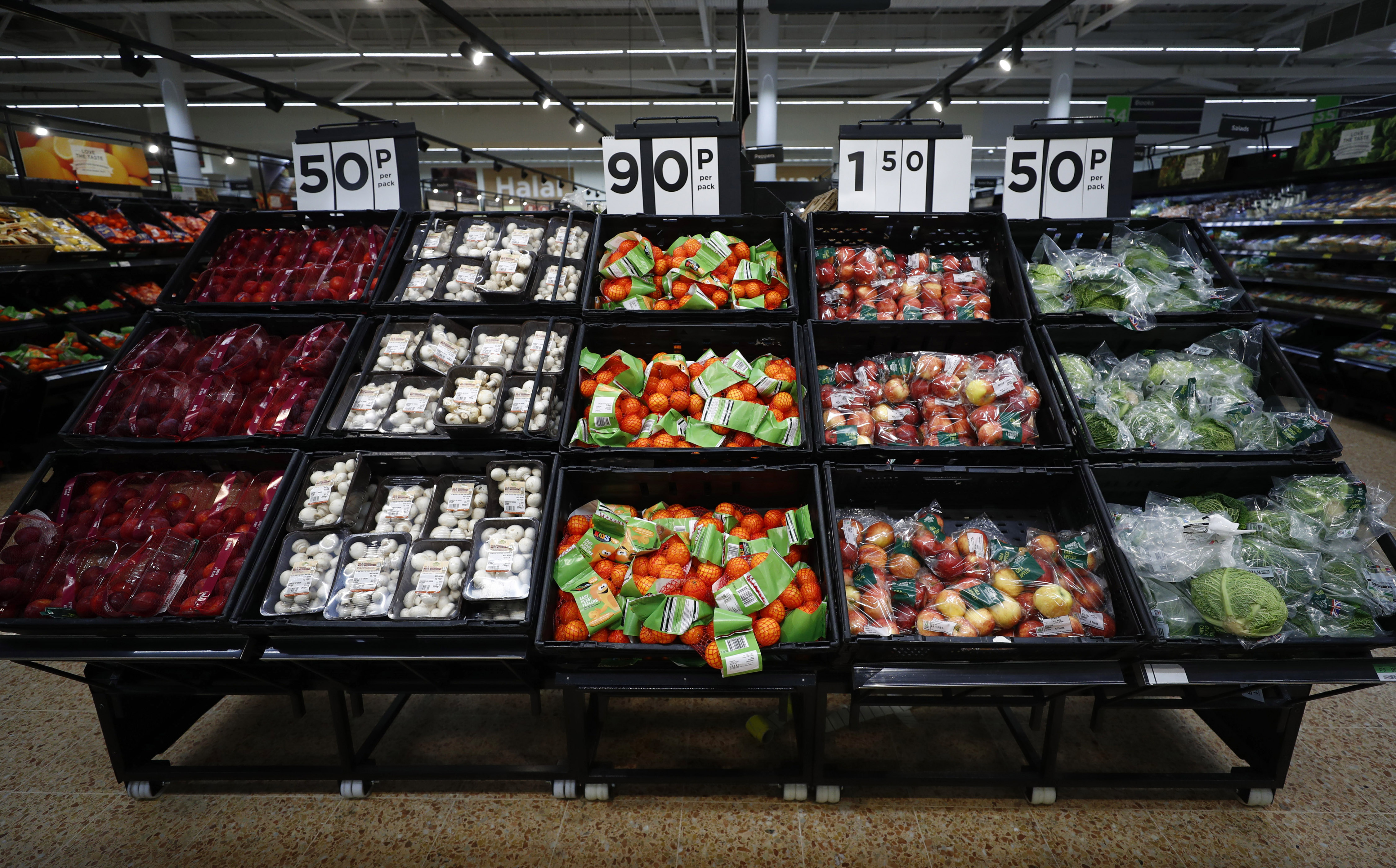 Fresh fruit and vegetables are displayed at the Asda superstore in High Wycombe, Britain, February 8, 2017.