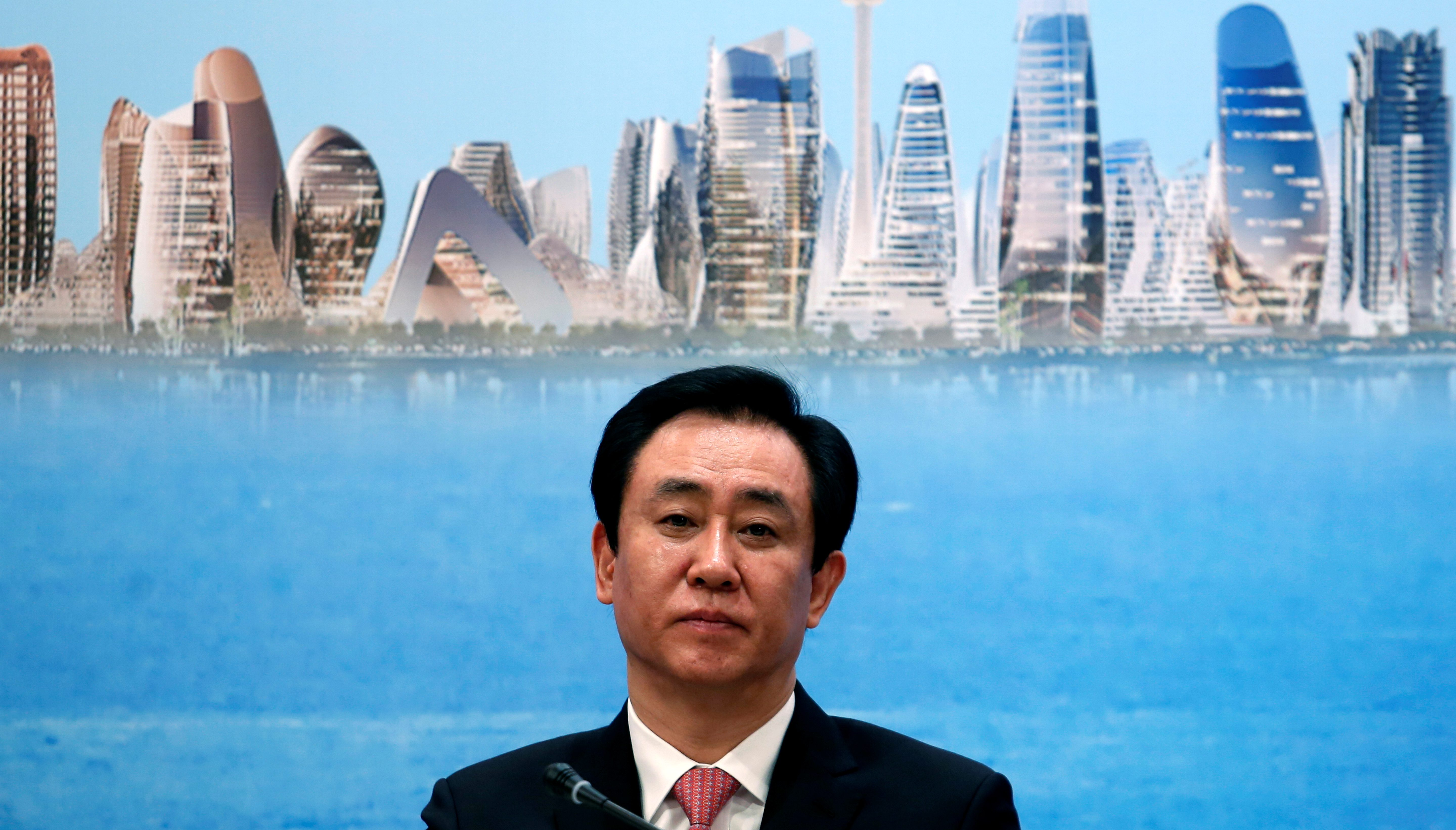 China Evergrande Group Chairman Hui Ka Yan attends a news conference on the property developer's annual results in Hong Kong, China March 28, 2017.