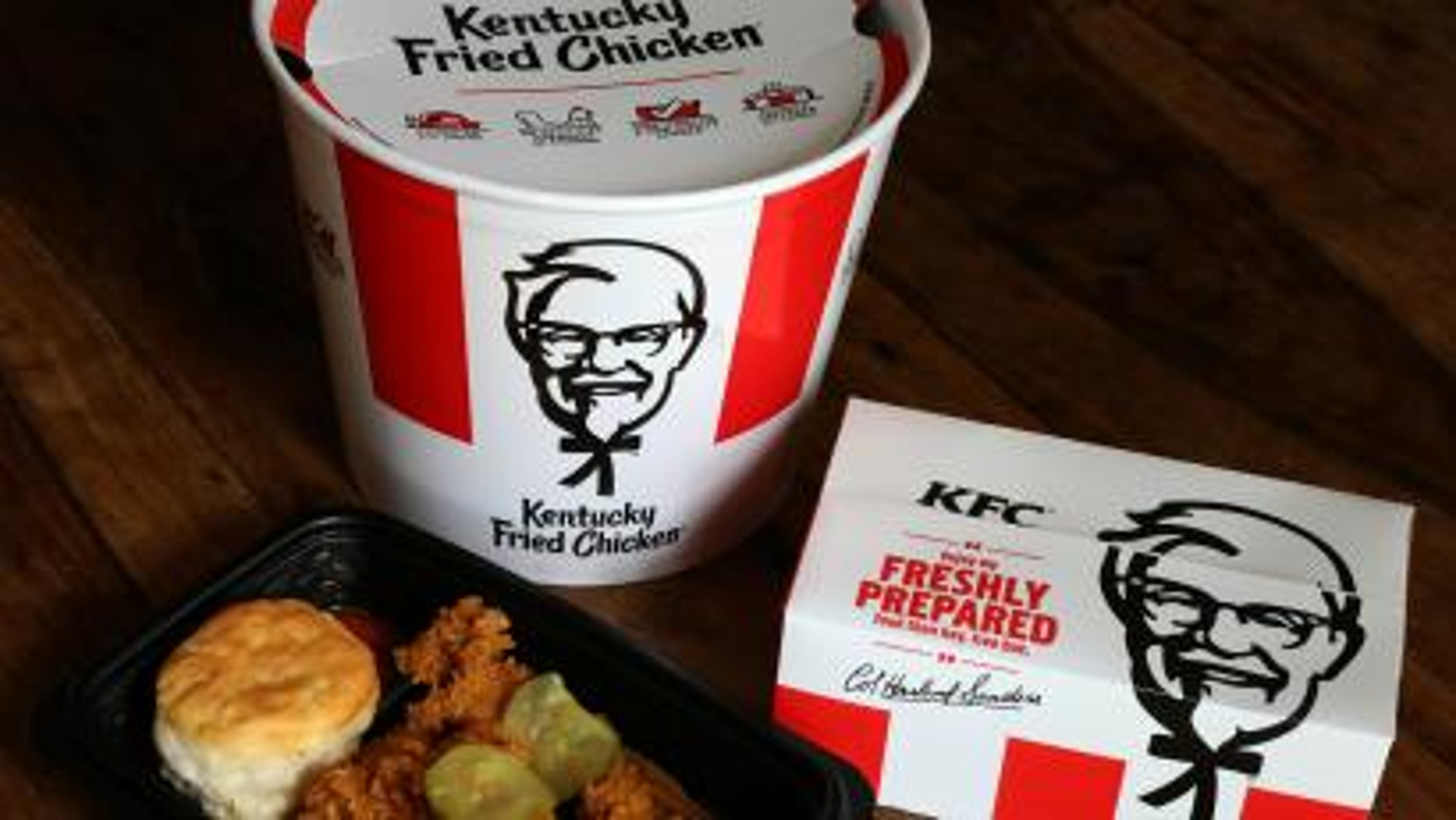 Kentucky Fried Chicken (KFC) bucket and box of chicken