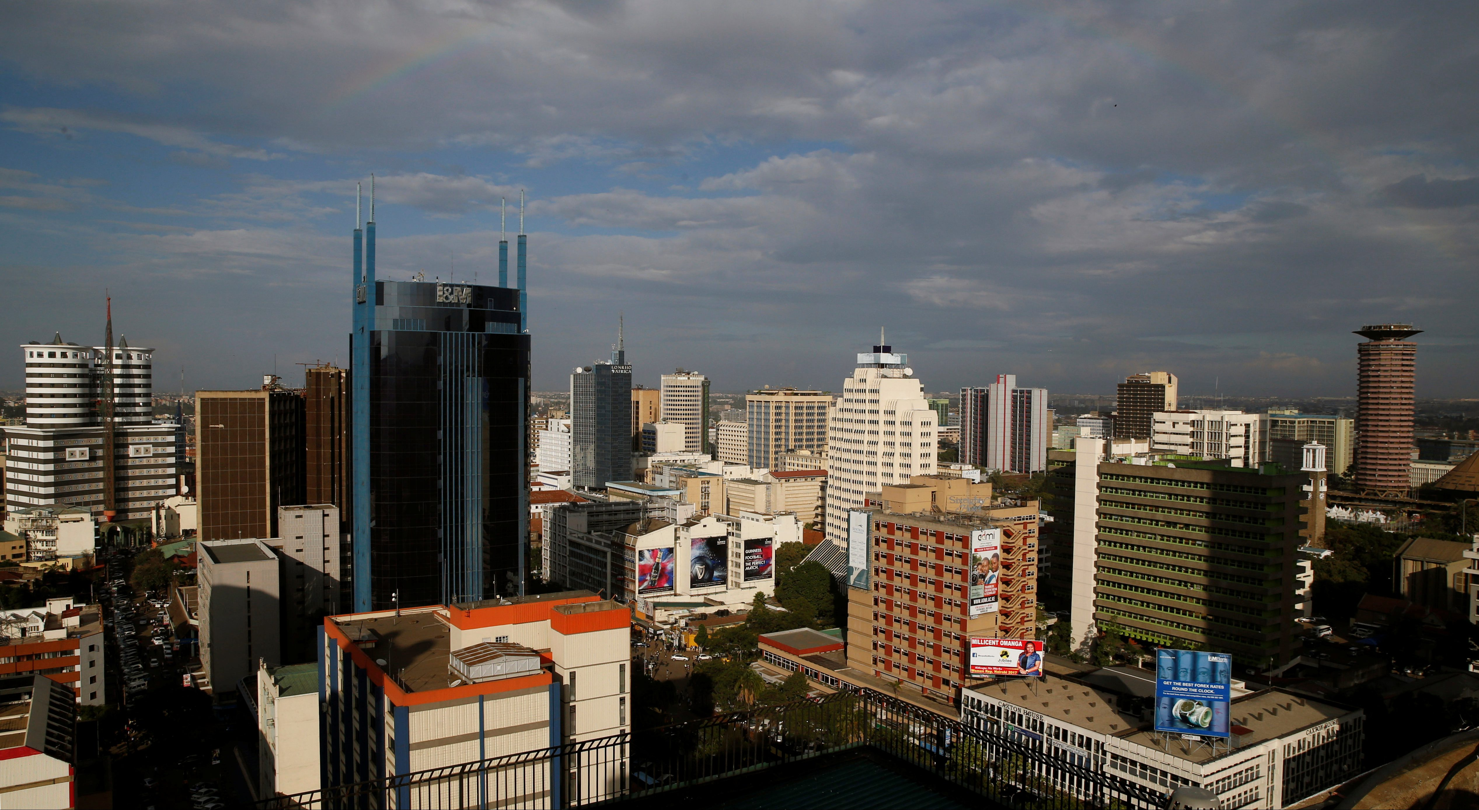 A general view shows the central business district of Kenya's capital Nairobi, April 10, 2017.
