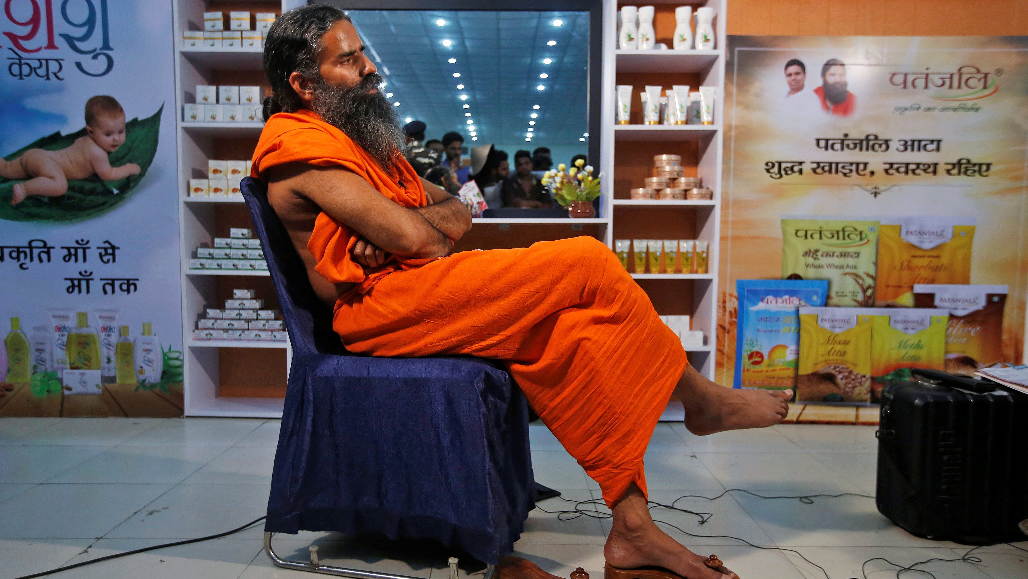 Indian yoga guru Baba Ramdev talks to media after a news conference in New Delhi, India, May 4, 2017. Picture taken on May 4, 2017.