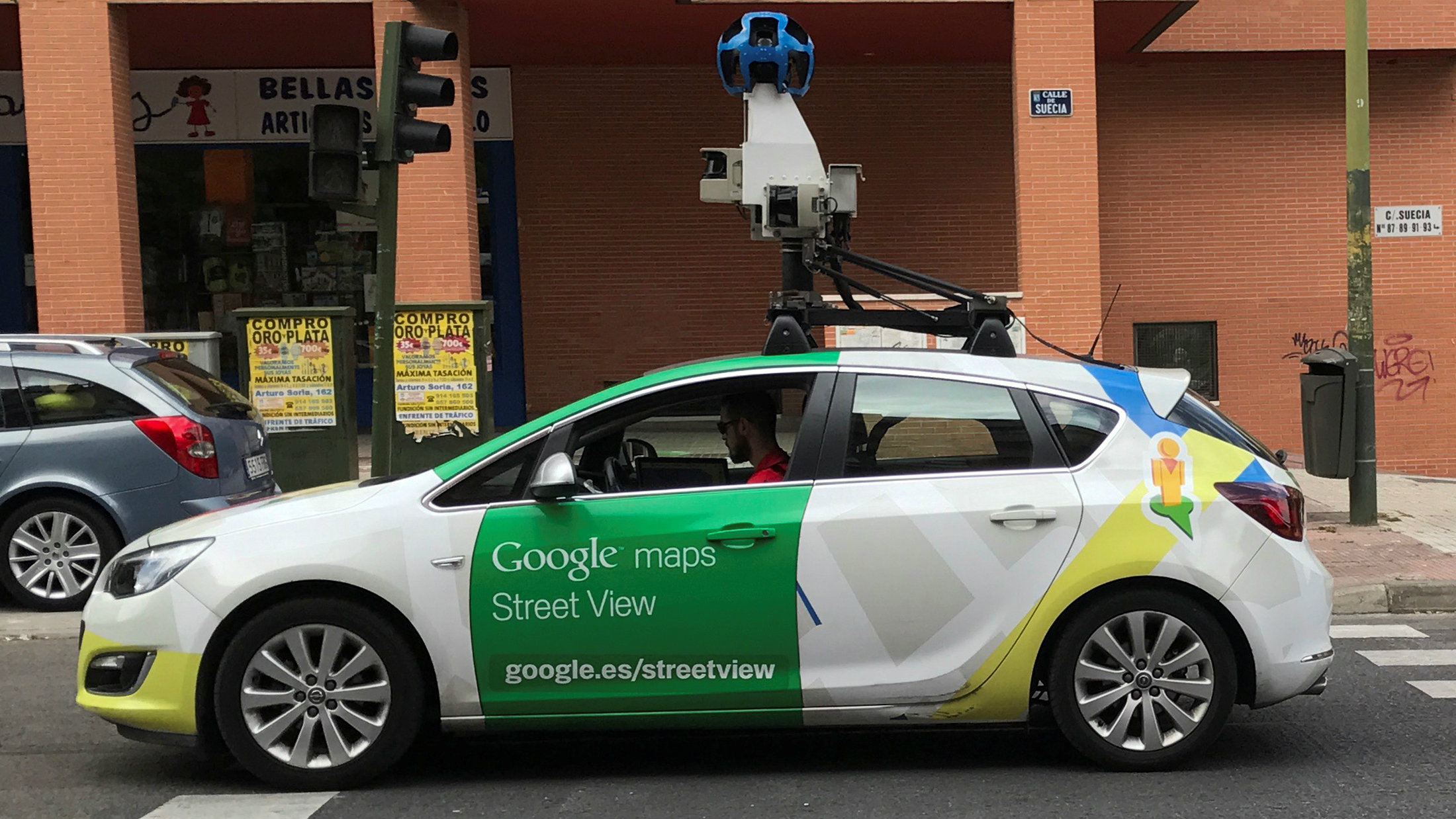 A Google Street View car is seen in a street in Madrid