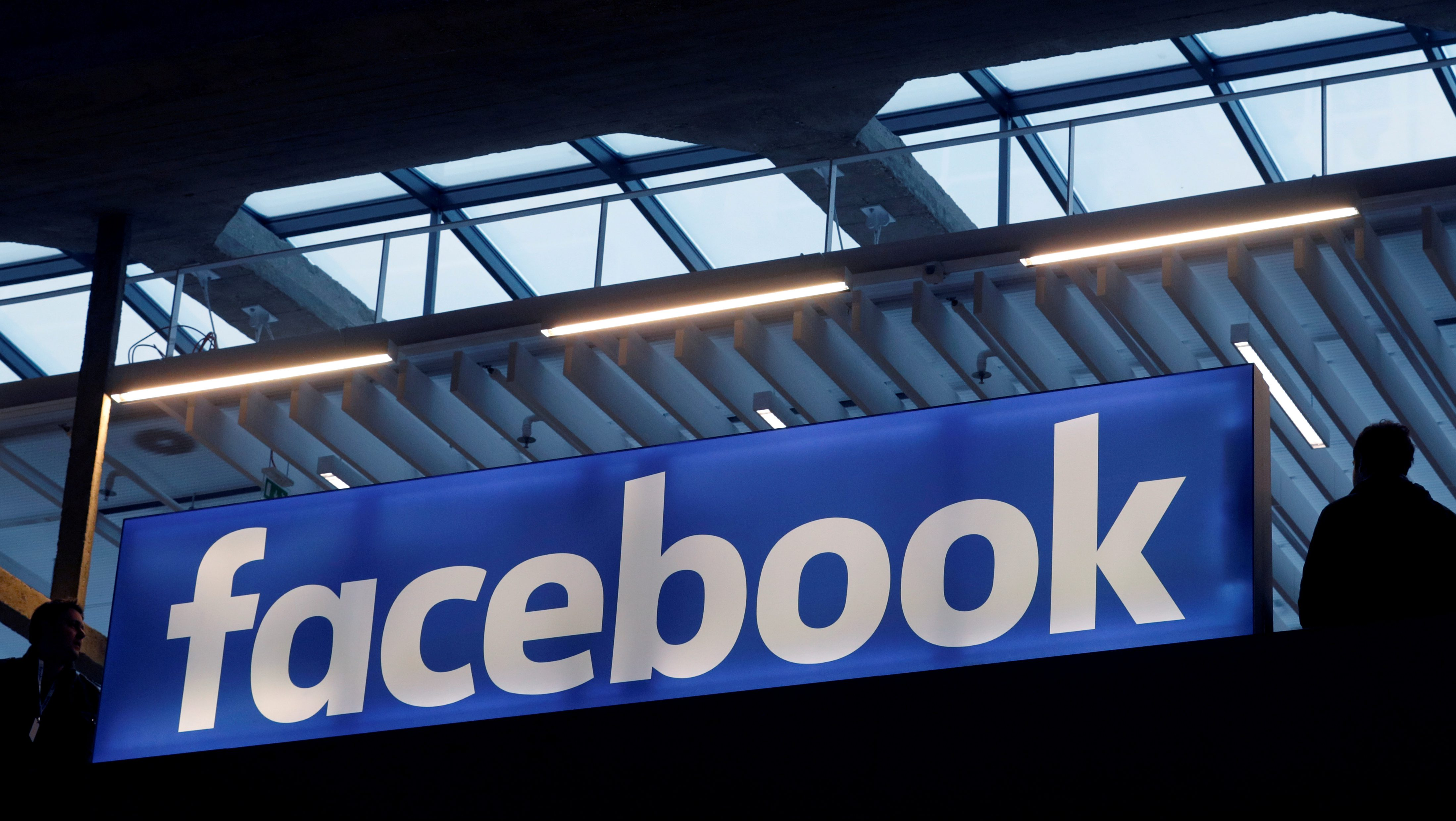 FILE PHOTO - Facebook logo is seen  at a start-up companies gathering at Paris' Station F in Paris, France on January 17, 2017.