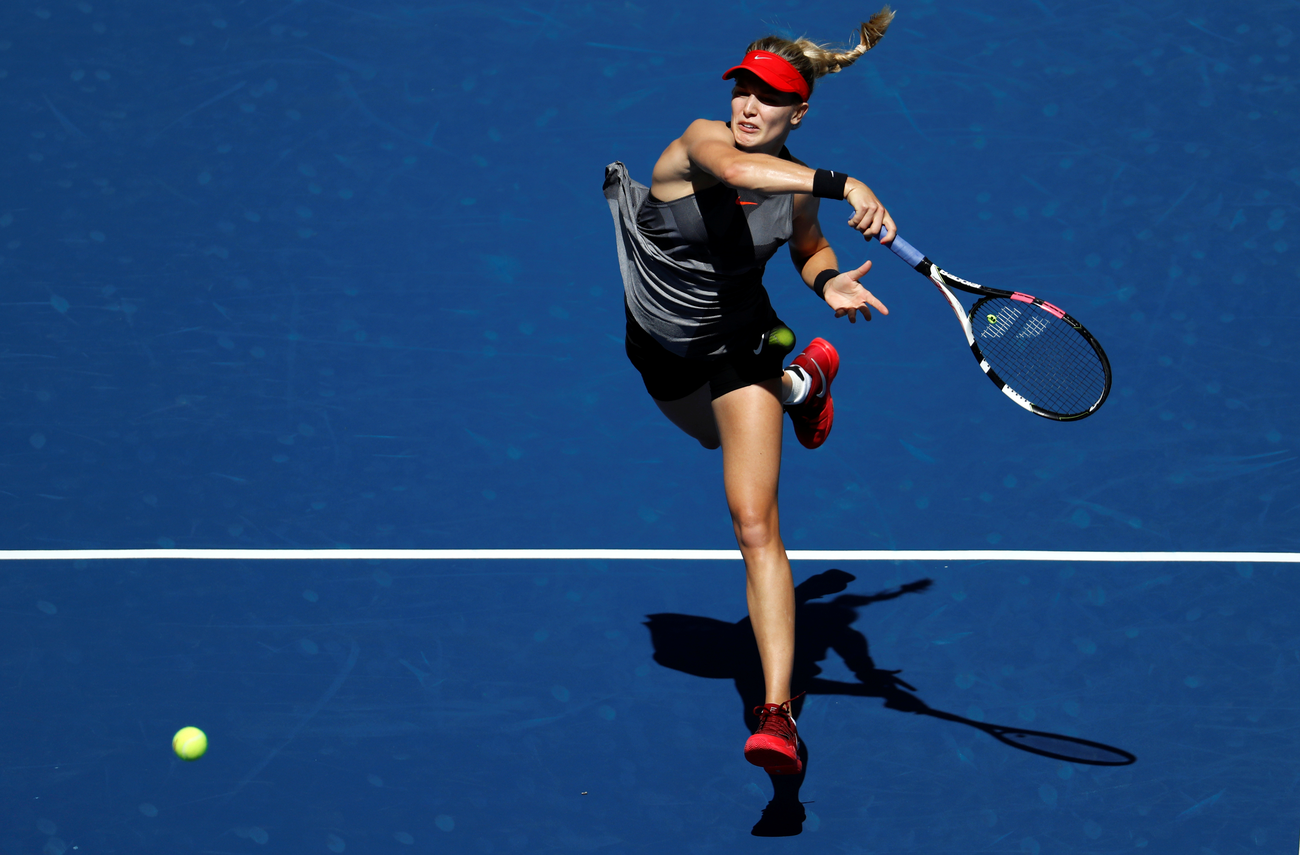Tennis - US Open - New York, U.S. - August 30, 2017 - Eugenie Bouchard of Canada in action against Evgeniya Rodina of Russia in their first round match. REUTERS/Mike Segar - RTX3E0YD