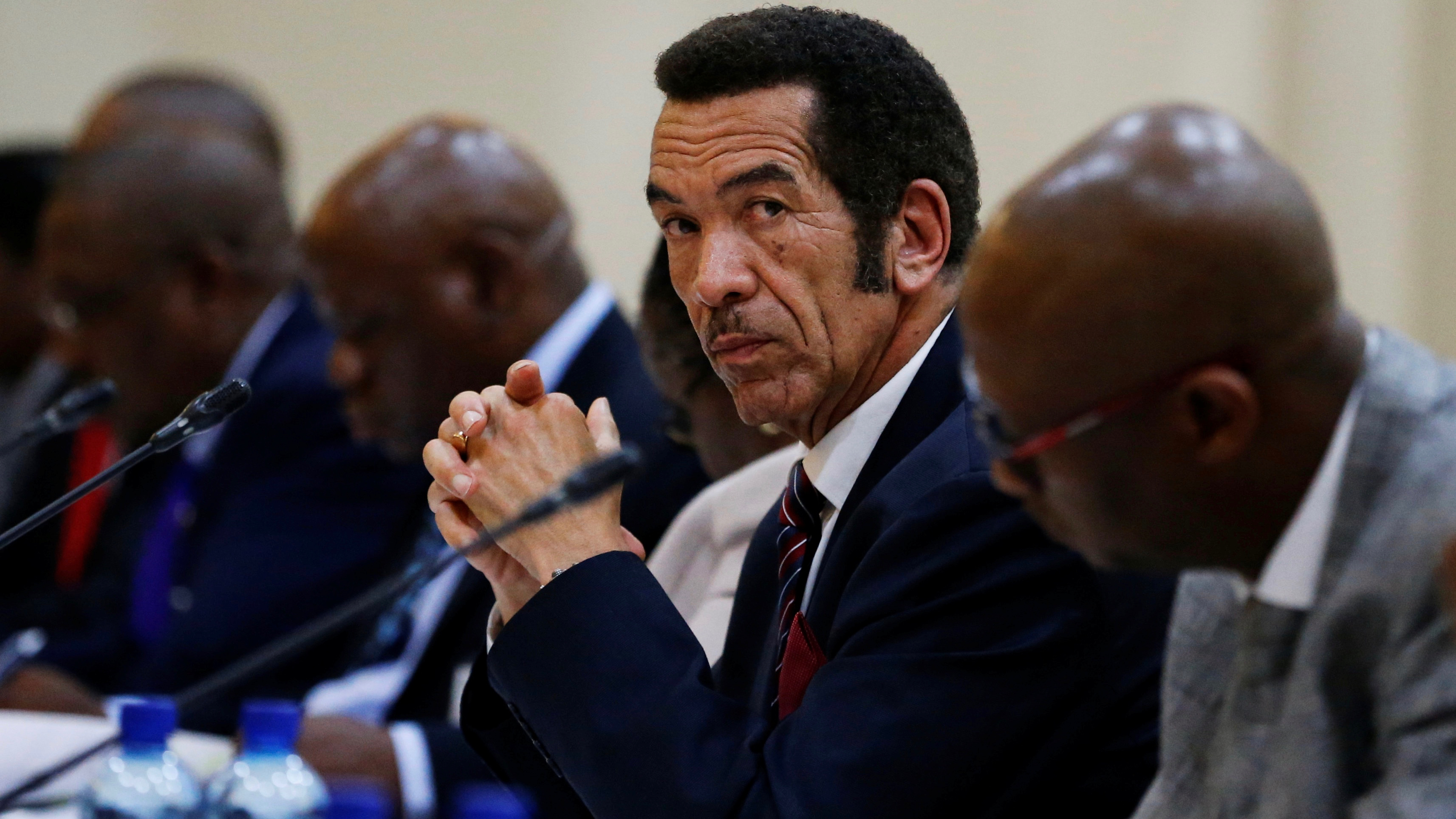 Botswana President Ian Khama looks on during the Botswana-South Africa Bi-National Commission (BNC) in Pretoria, South Africa, November 11, 2016. REUTERS/Siphiwe Sibeko - RTX2T64N