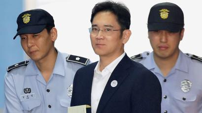 Lee Jae-yong, Samsung Group heir arrives at Seoul Central District Court to hear the bribery scandal verdict on August 25, 2017 in Seoul, South Korea.