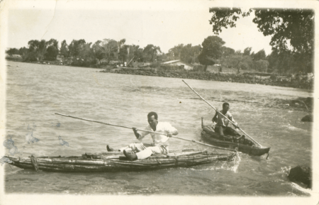Students rowing in 1975.