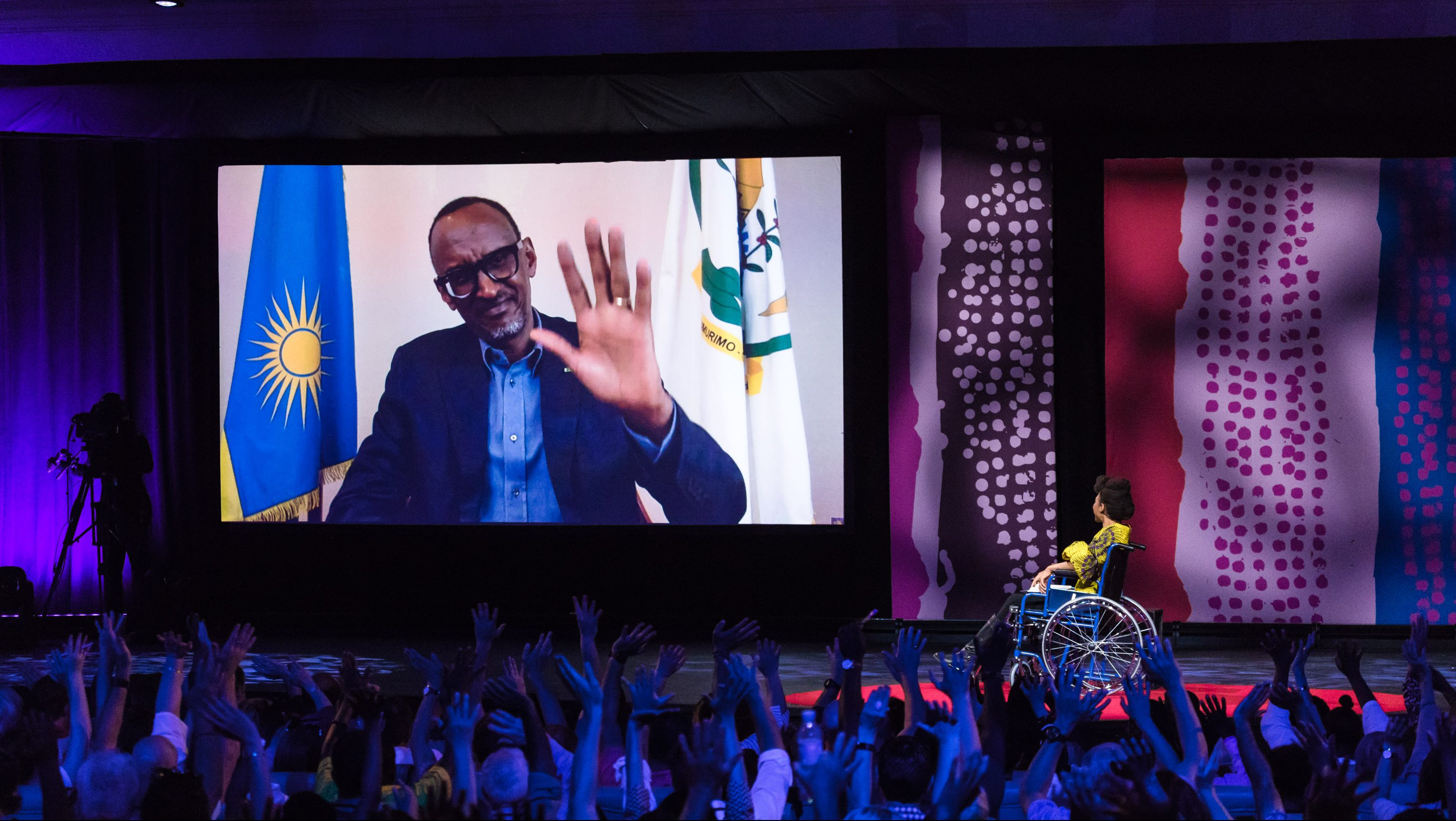 Paul Kagame, President of Rwanda, interviewed by Vimbayi Kajese via live video link at TEDGlobal 2017 - Builders, Truth Tellers, Catalysts - August 27-30, 2017, Arusha, Tanzania.
