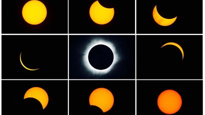 Combo photo of a total solar eclipse.