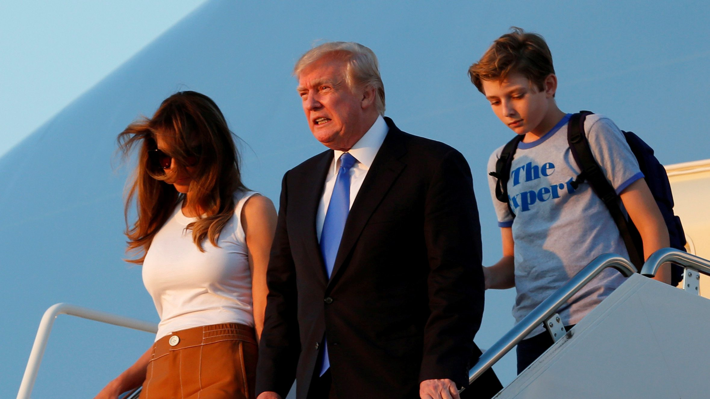 U.S. President Donald Trump with First Lady Melania Trump and their son Barron arrive at Joint Base Andrews outside Washington, U.S., after a weekend at Trump National Golf Club in Bedminster, New Jersey, U.S., June 11, 2017.