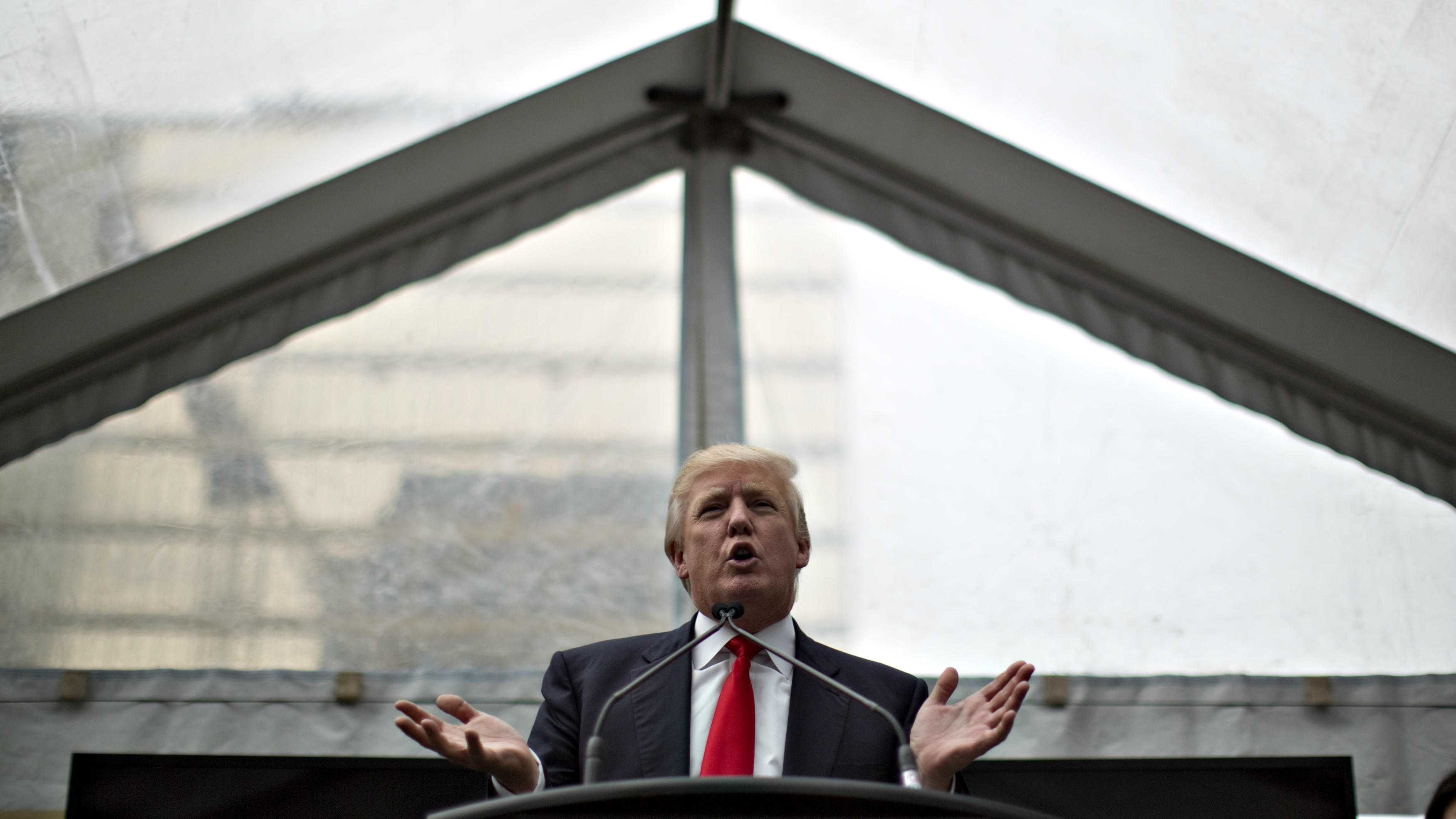 Trump addresses a ceremony announcing a new hotel and condominium complex in Vancouver.